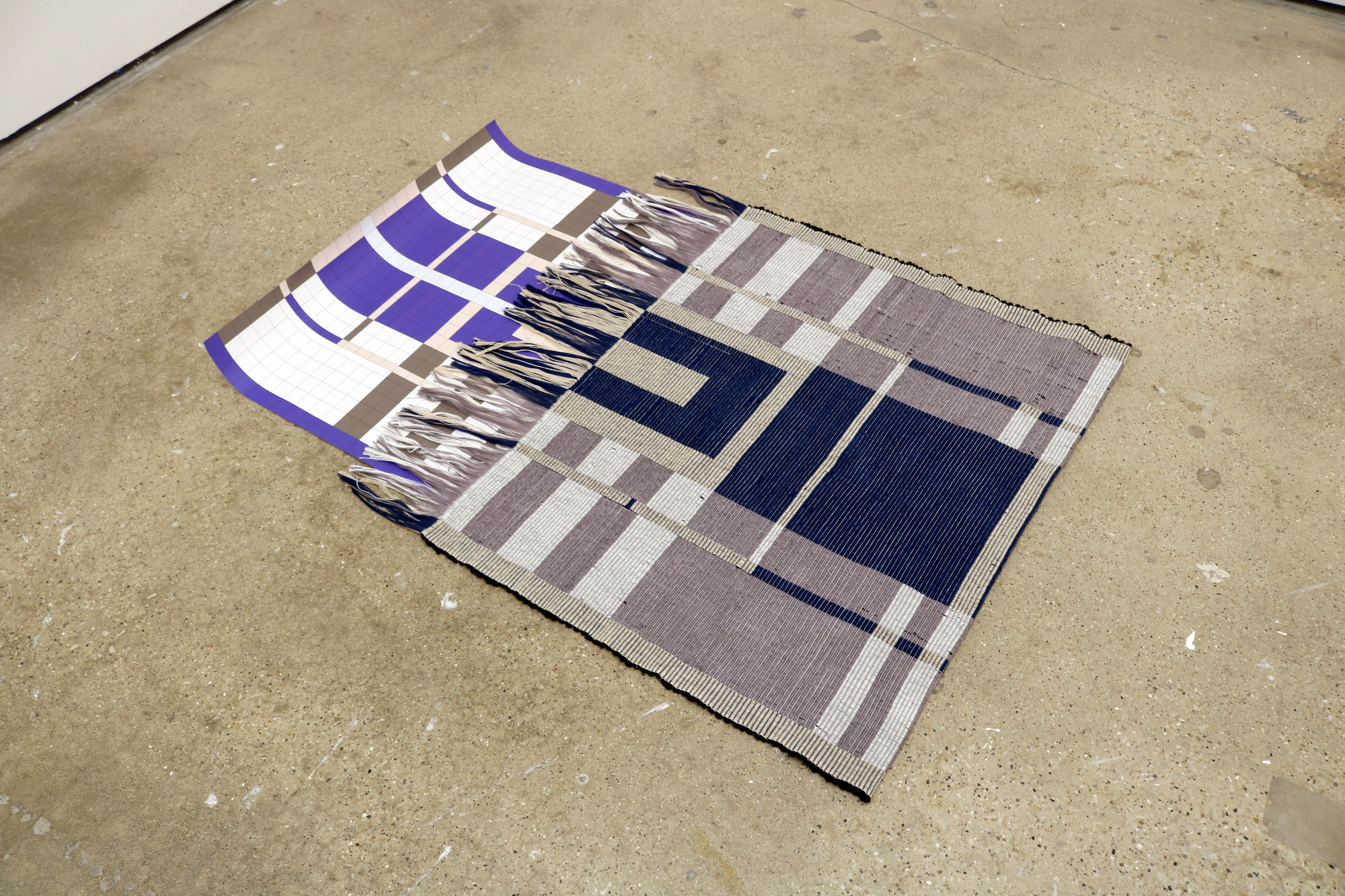 Plan of a Rug Making a Rug (2018)  hand woven rug with cotton and rope, paper