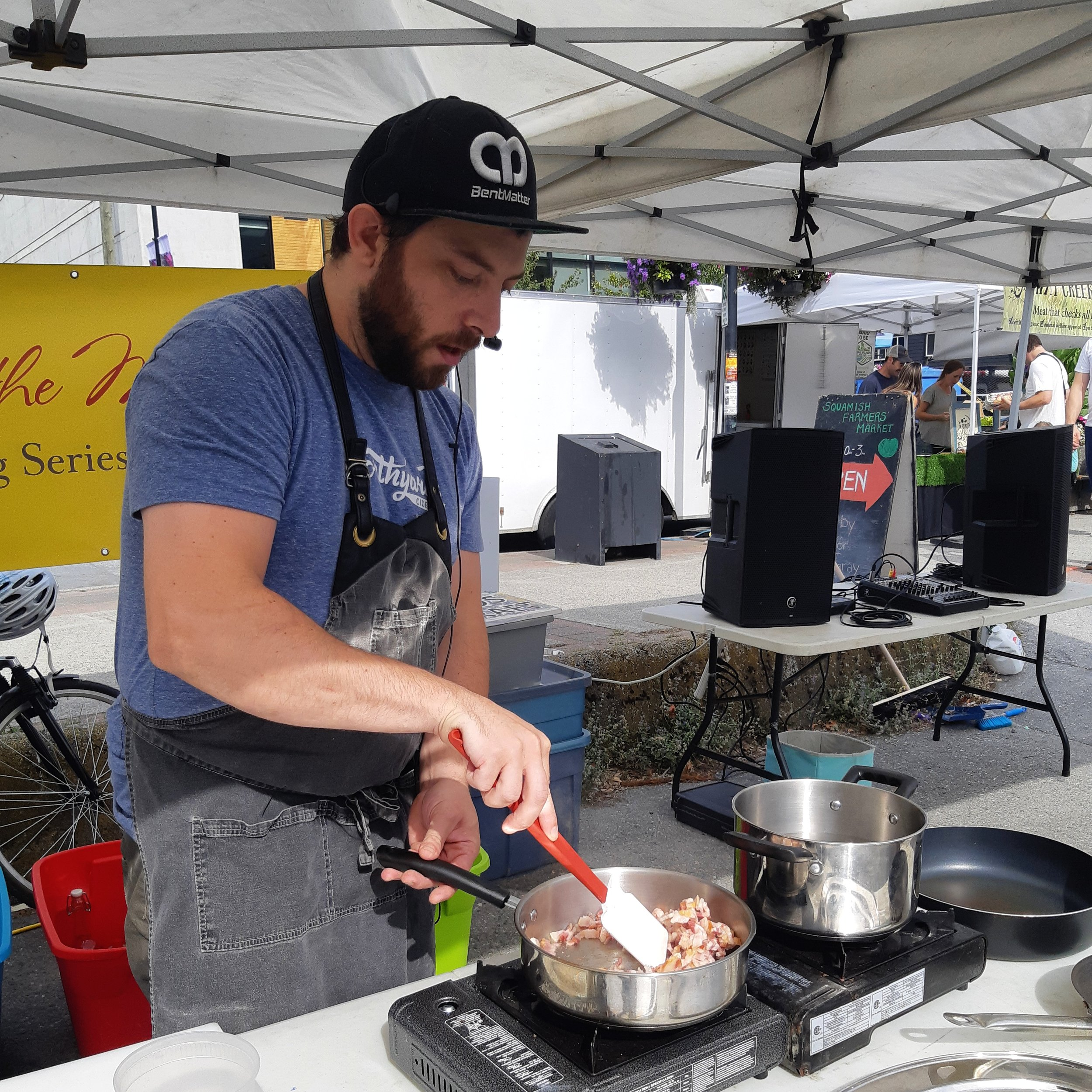 Tristan LeRoux is the chef at  Northyards Cider Co . and former soux chef at  Backcountry Brewing  so the man obviously has a palatte for great food and drink! He put his culinary skills on display on September 7th when he created the most incredible Chickpea Crepes and Ratatouille Omelettes using a great array of market ingredients. His recipe creations can be found on our recipe share here.