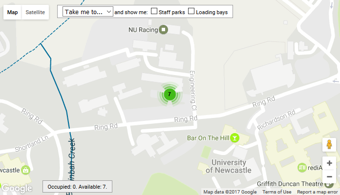 Example of real time information about the car park occupancy