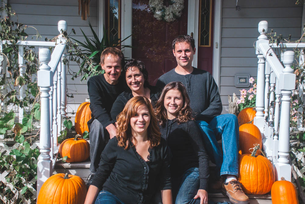 Family portraits at home in Wisconsin