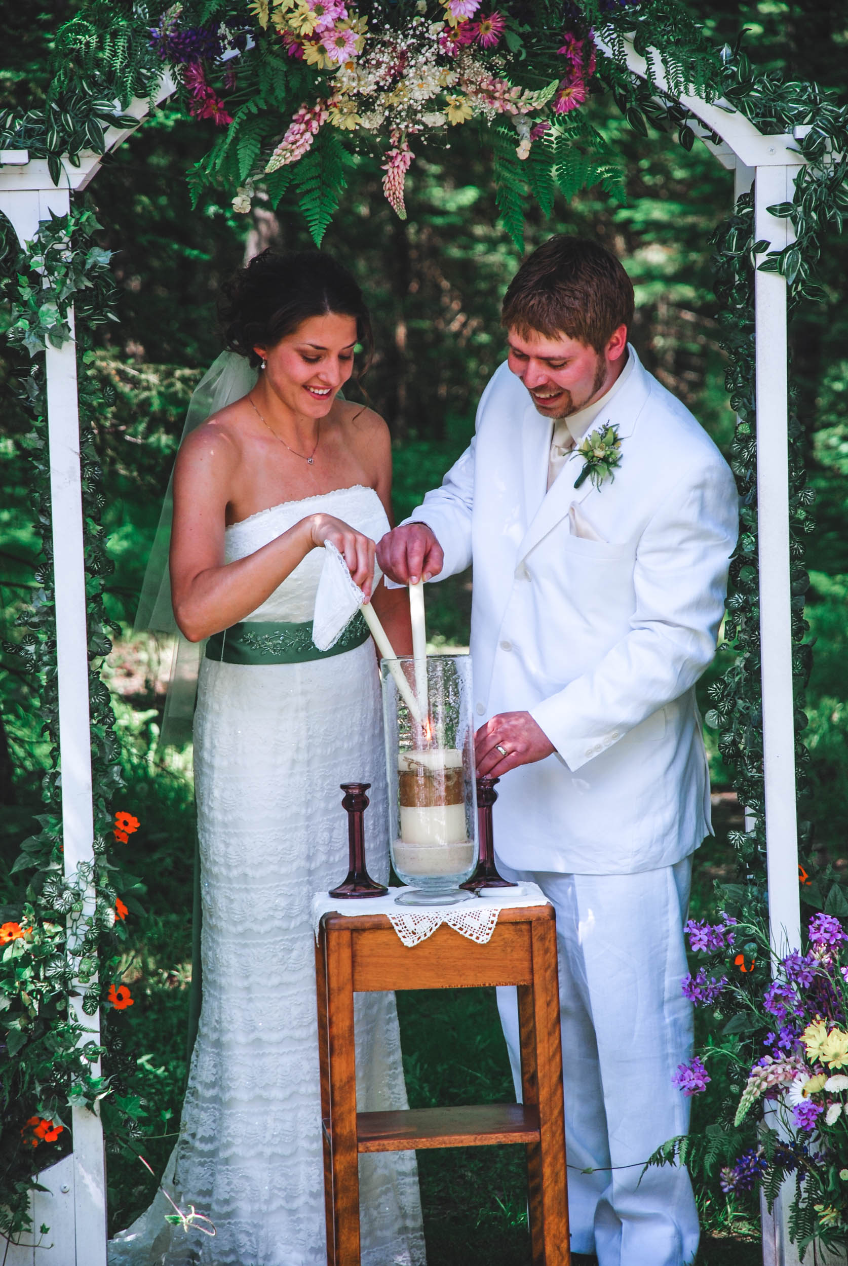 Backyard WI wedding unity candle