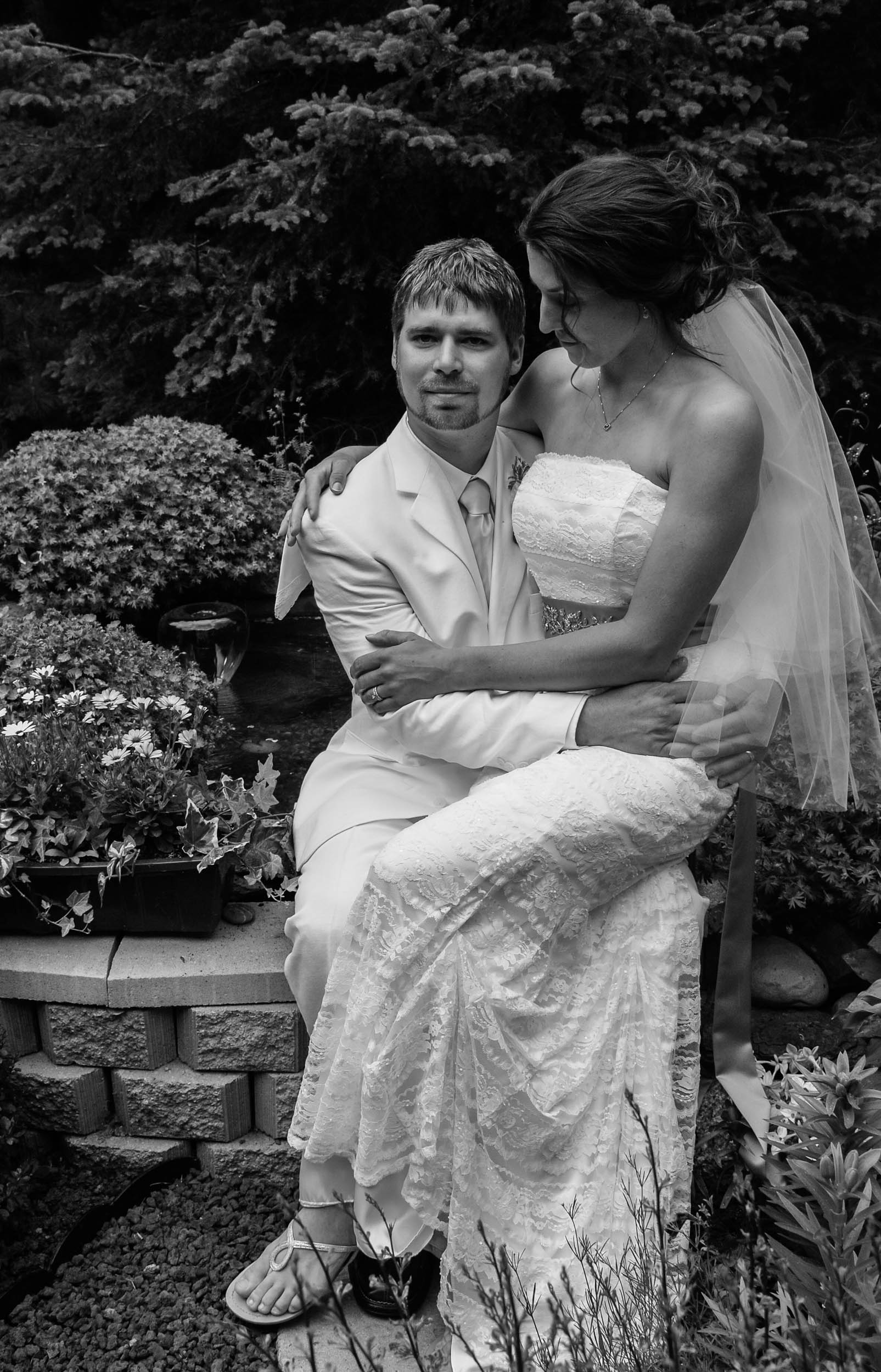 Bride and groom share a moment together