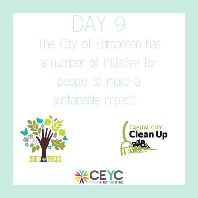 Day 9 is all about how you can get involved with the City of of Edmonton to make a bigger environmental impact! There are number city-sponsored initiatives that you and a group of your friends can get involved in! - Roots of Trees -Capital City Clean Up -Ribbon of Green -fresh- Edmonton's Food and Urban Agriculture Strategy  Go get involved!