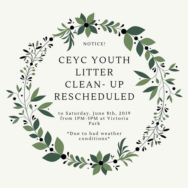 Hey guys! The CEYC Youth Litter Clean- Up was supposed to be hosted today, but because of terrible weather conditions it had to be postponed. The link to the updated Eventbrite is attached.  Sorry for any inconveniences and we hope to see you there!  https://www.eventbrite.ca/e/ceyc-youth-litter-clean-up-tickets-59622313946?aff=ebdssbdestsearch&utm-medium=discovery&utm-campaign=social&utm-content=attendeeshare&utm-source=cp&utm-term=destsearch