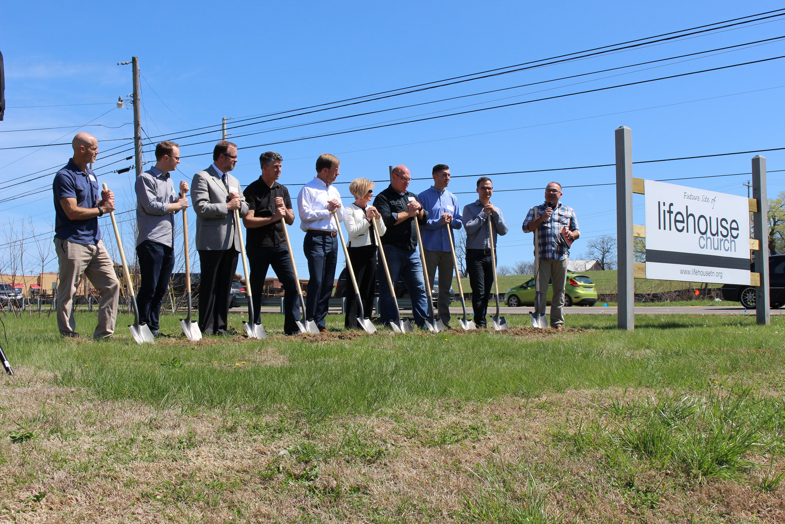 Leaders from Lifehouse Church breaking ground on the new building with their architect, contractor, and banker.
