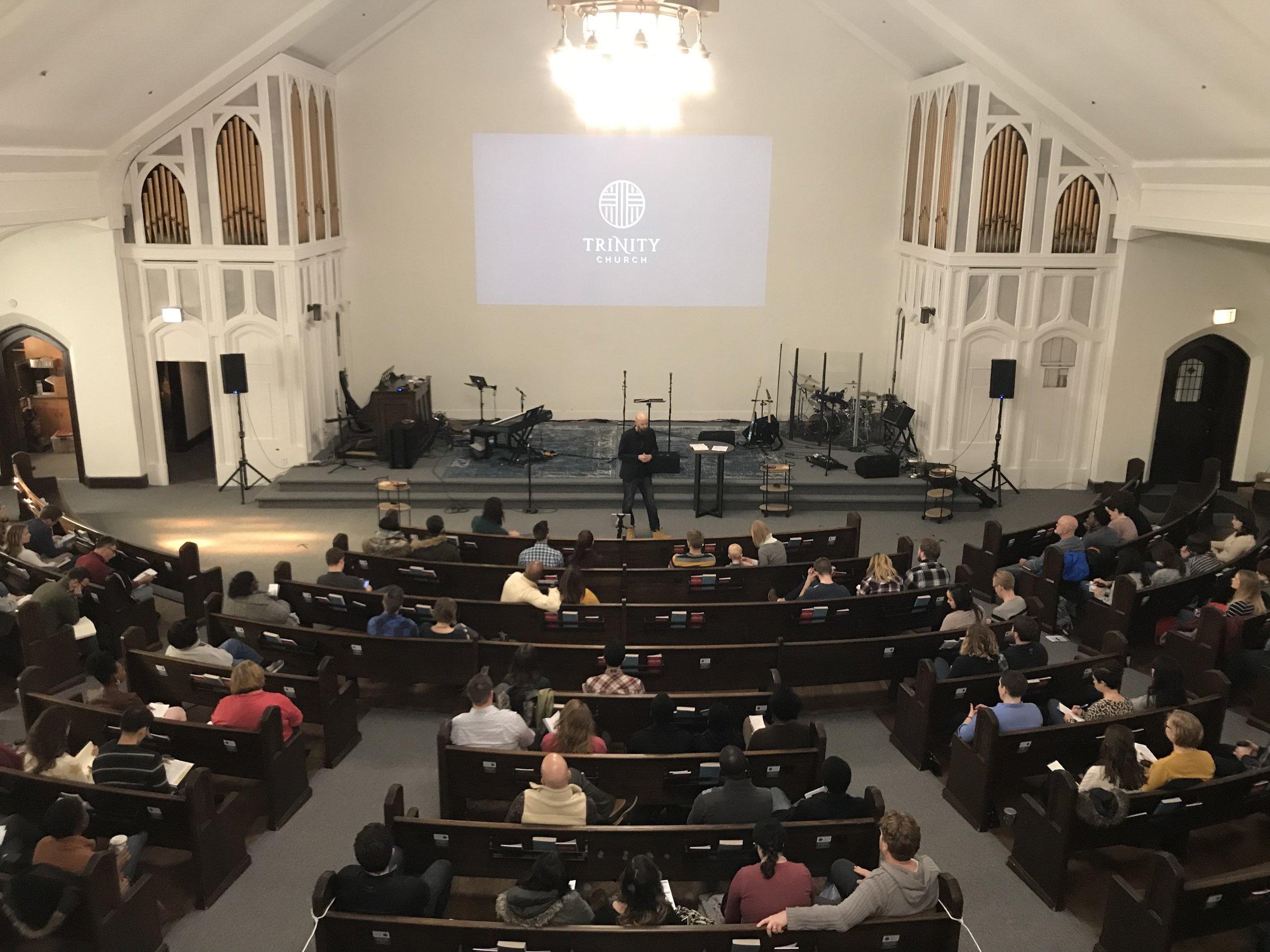 A Sunday morning meeting at Trinity Church