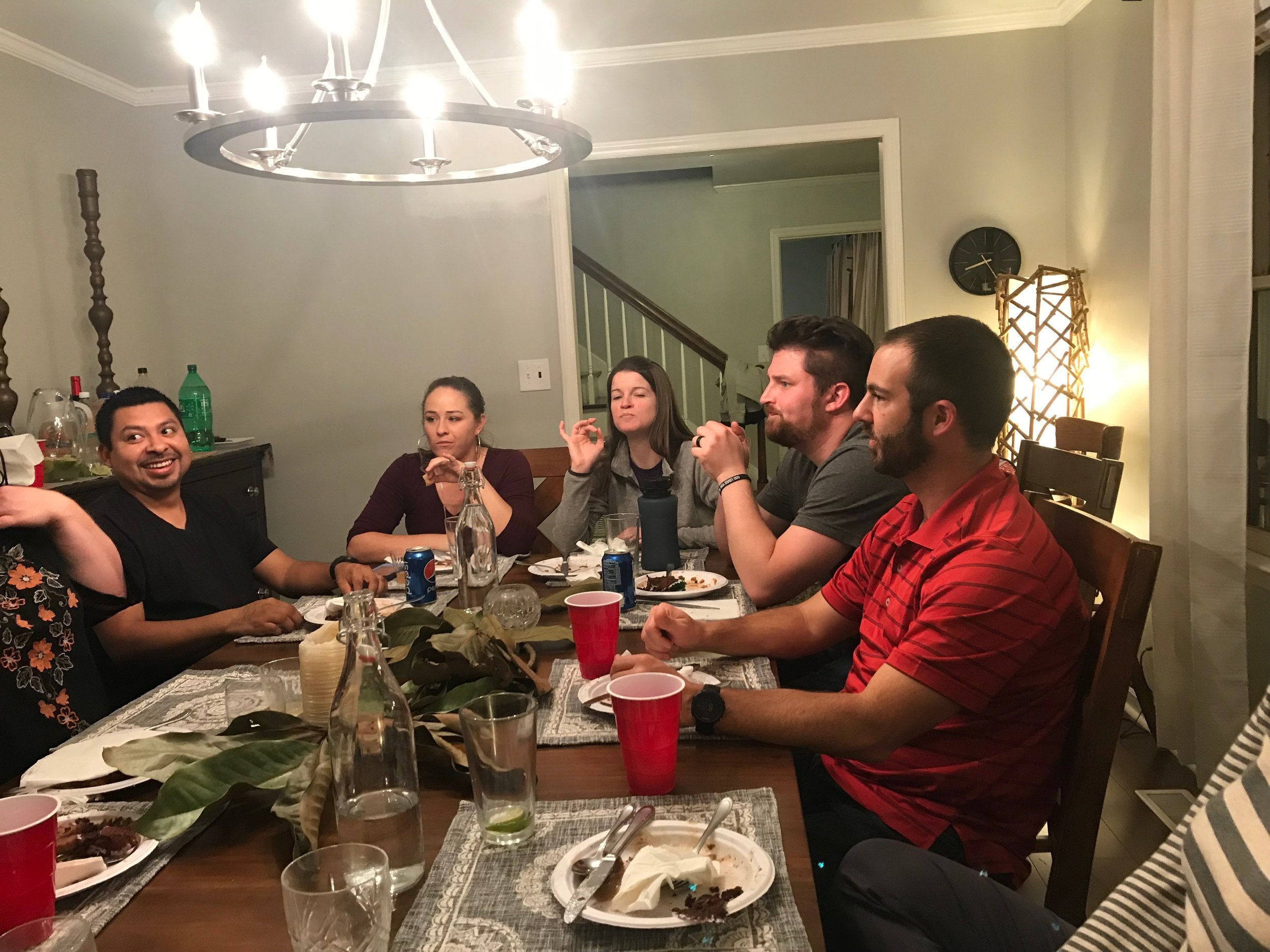 One of Living Hope Church's supper clubs enjoys a meal together