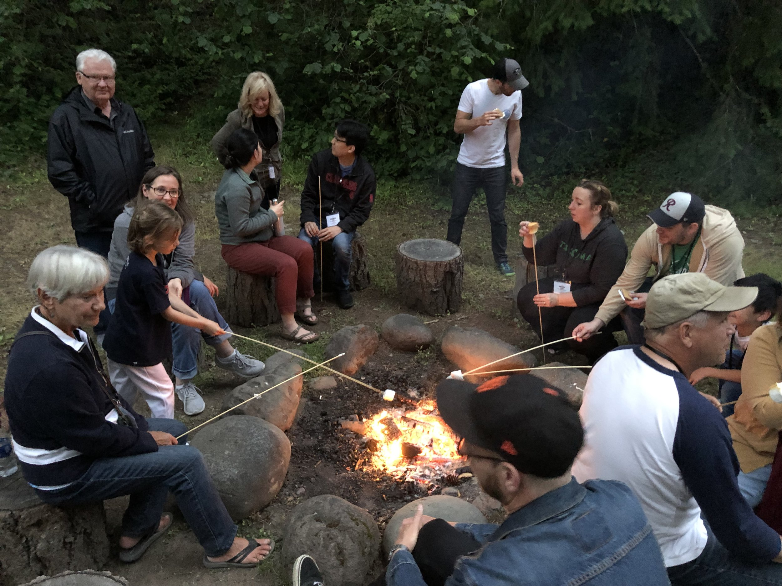 Marshmallows and good conversations around the campfire