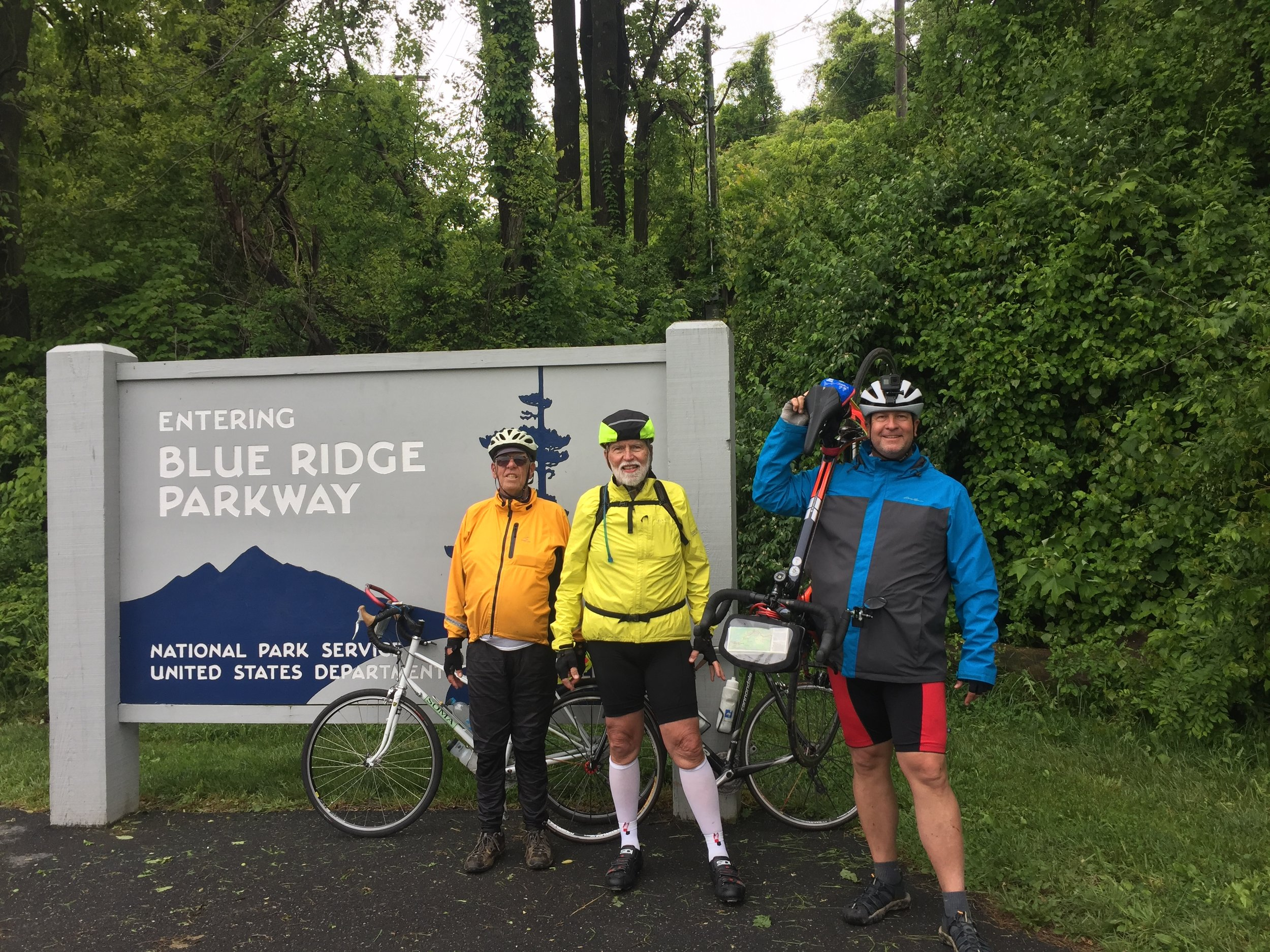 Blue Ridge Parkway. After going straight up forever we enter this famed roadway. I would like to think that from here it's just a nice winding flat path along the ridge but I am disappointed. (With Mike & Don)