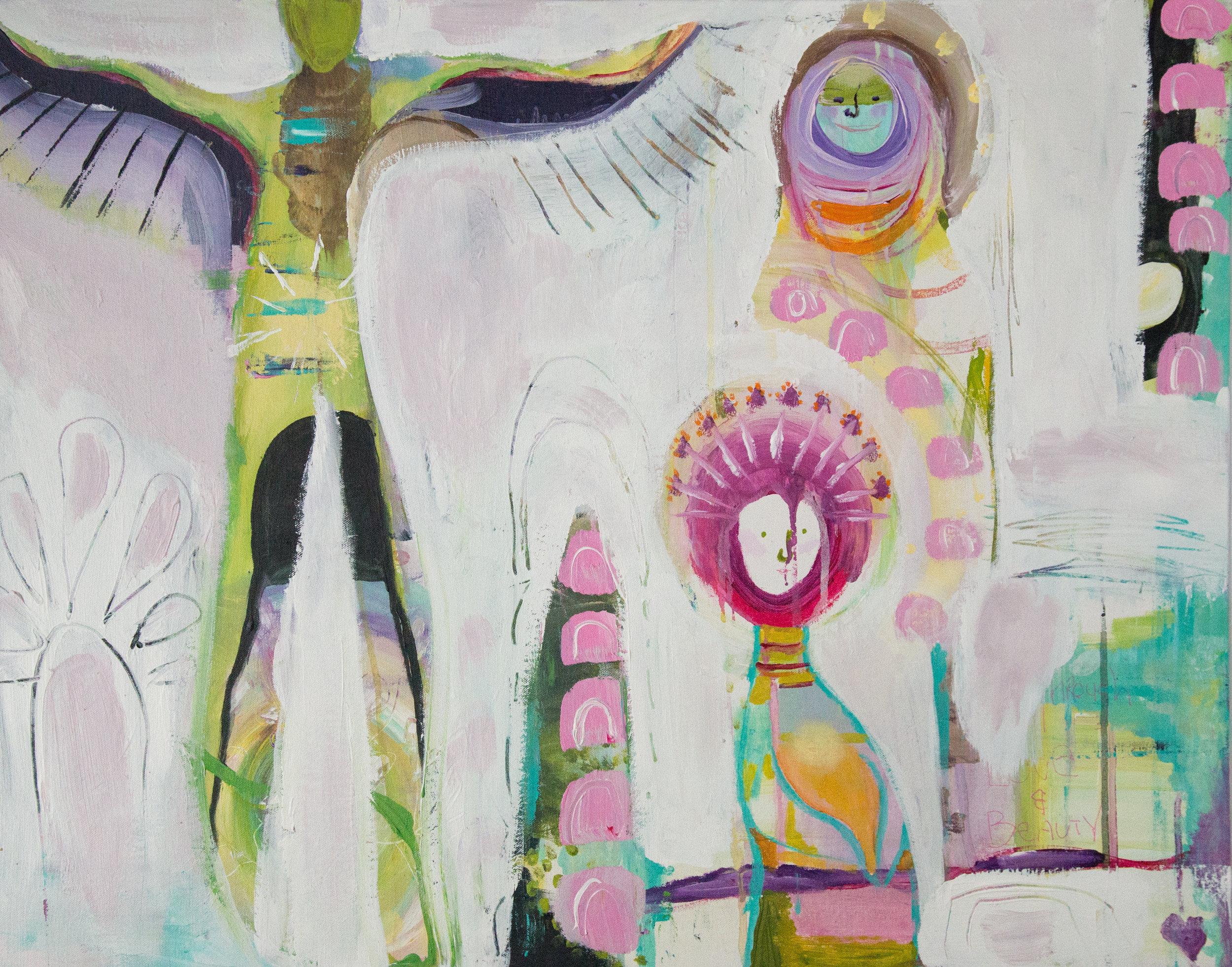 """Rainbow Women""  acrylic on canvas art board  24"" x 30"""