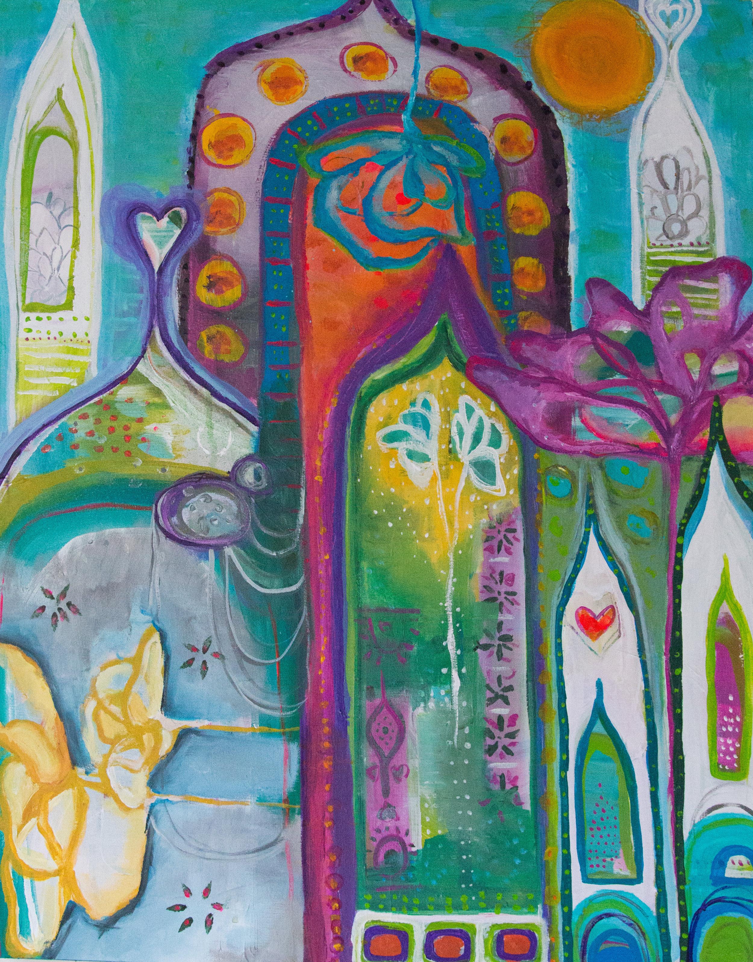 """""""Temple""""  acrylic on canvas  24""""x 30"""""""