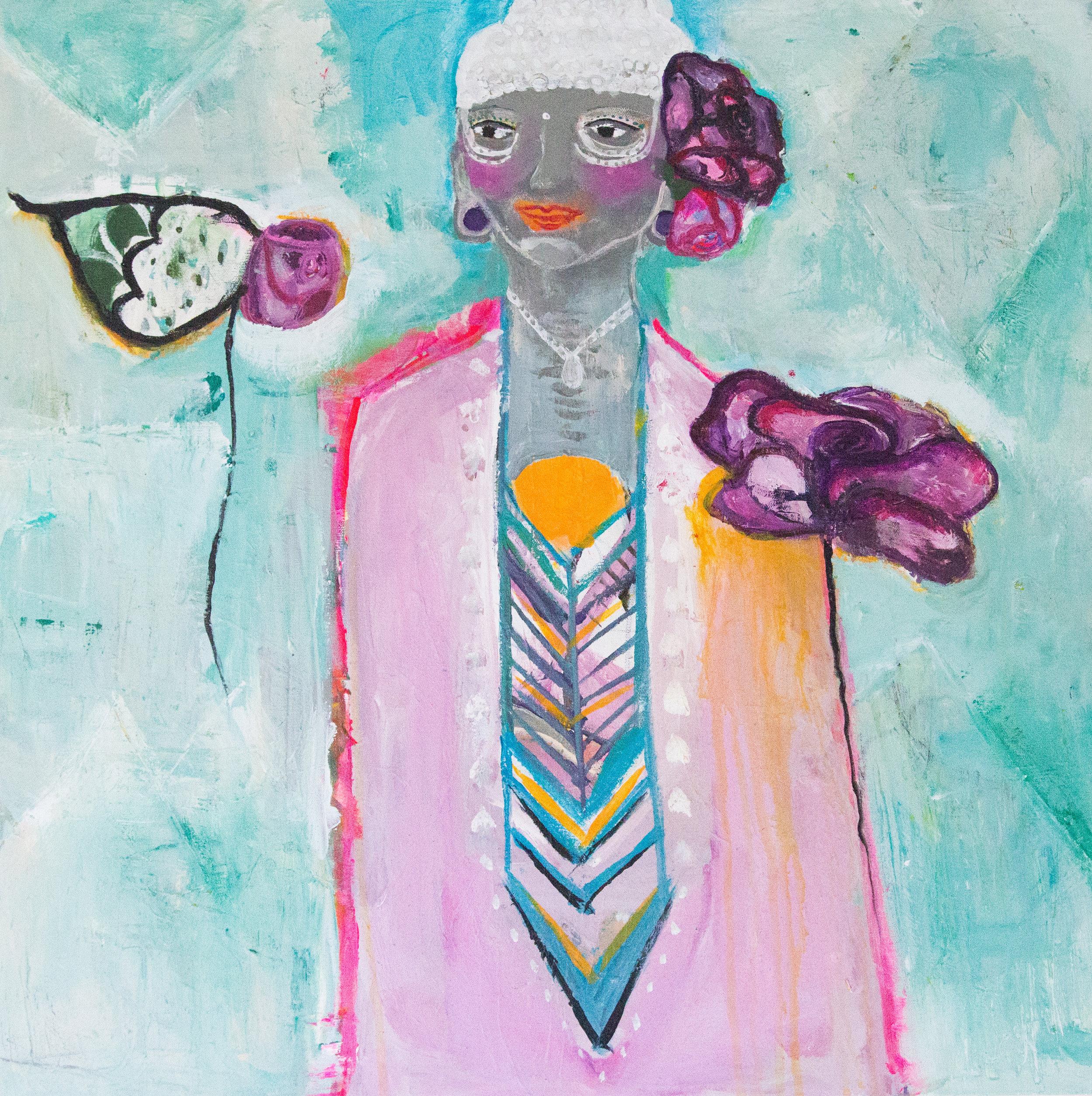 """Awakened Goddess""  acrylic on canvas  24"" x 24"""
