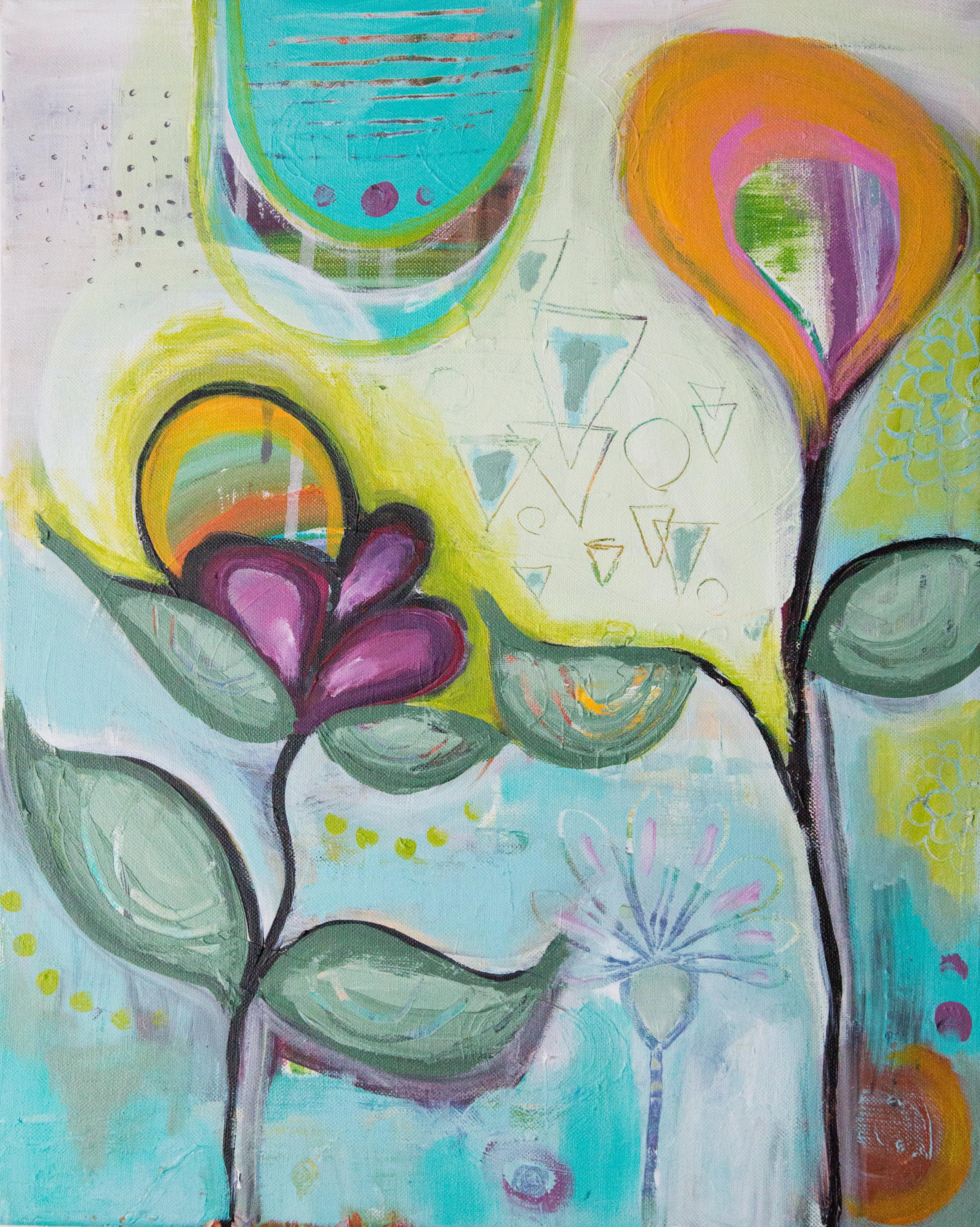 """Spirit Flowers""  acrylic on canvas  16"" x 20"""