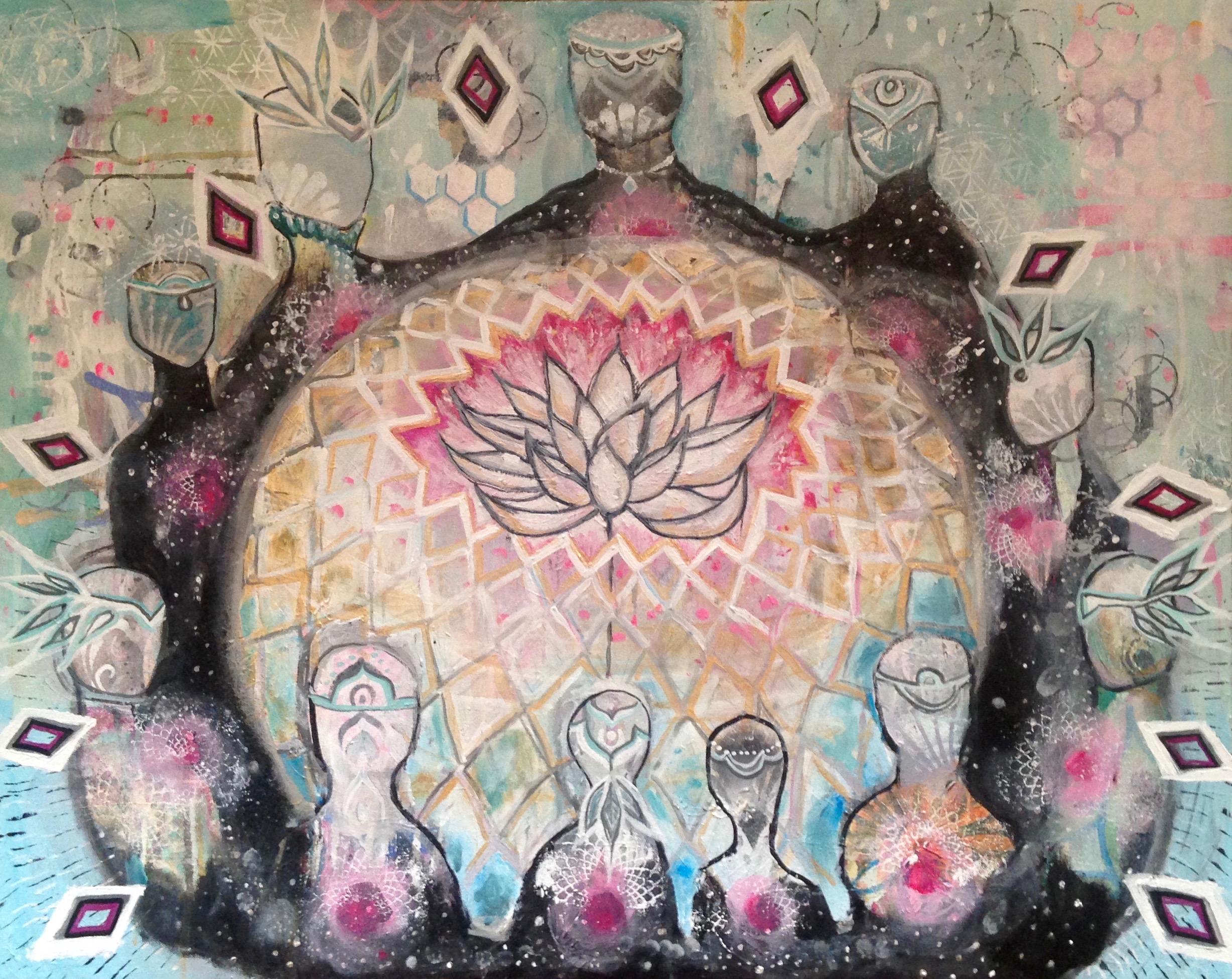 """Cosmic Campfire""  24"" x 30""  acrylic on canvas"