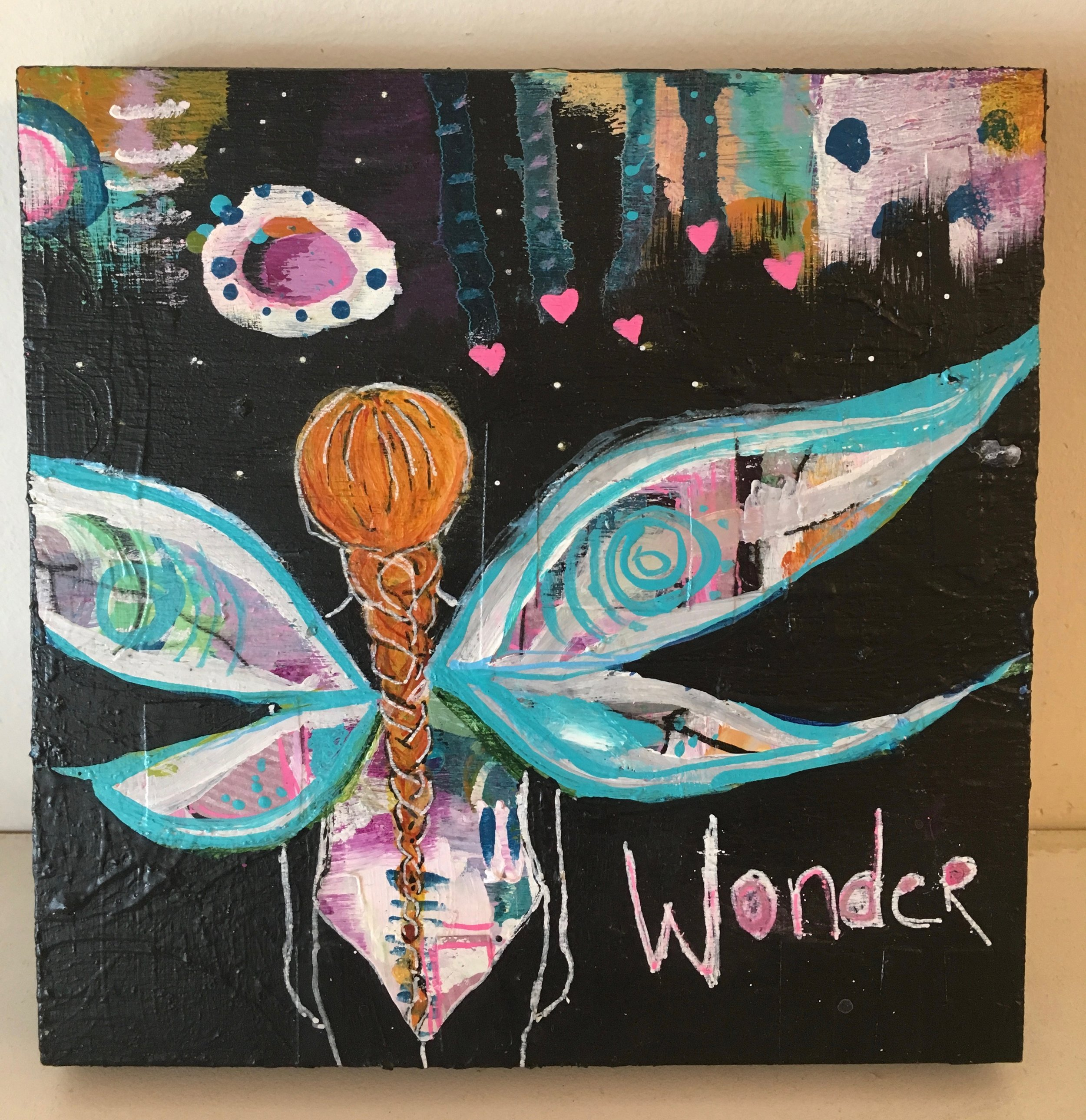 """Wonder""  Mixed media  6"" x 6"" wood block"