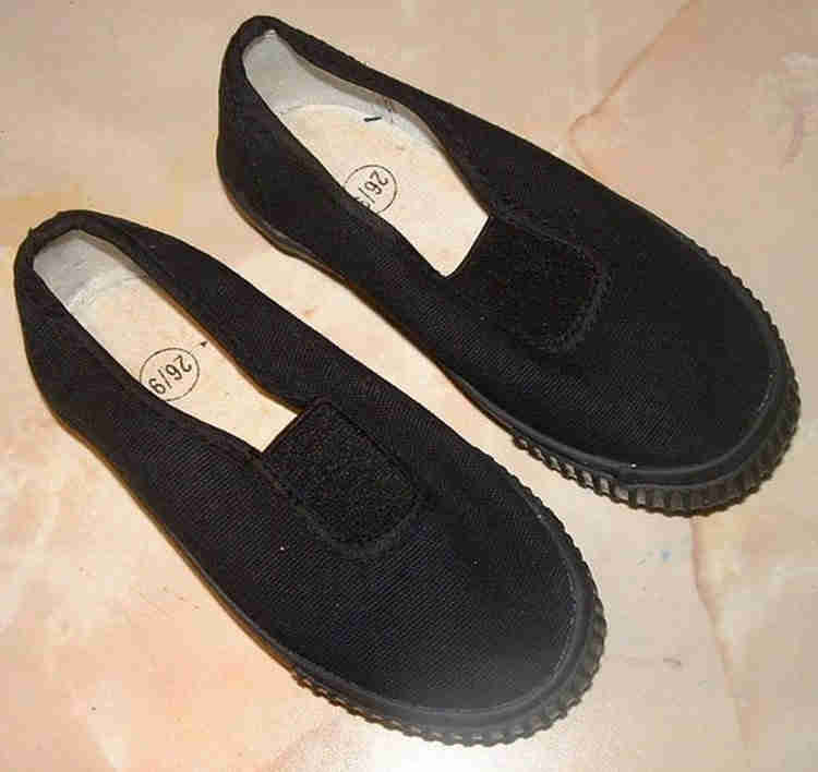 Plimsolls, simple but sometimes not appropriate.  By Alansplodge - Own work, CC BY-SA 3.0, https://commons.wikimedia.org/w/index.php?curid=17212175