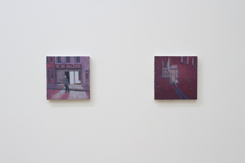 LTR: Michael Fanta Ici Ou Ailleurs, 2017, oil on cardboard, 20 x 20 cm; Michael Fanta Maniac, 2017, oil on cardboard, 20 x 20 cm