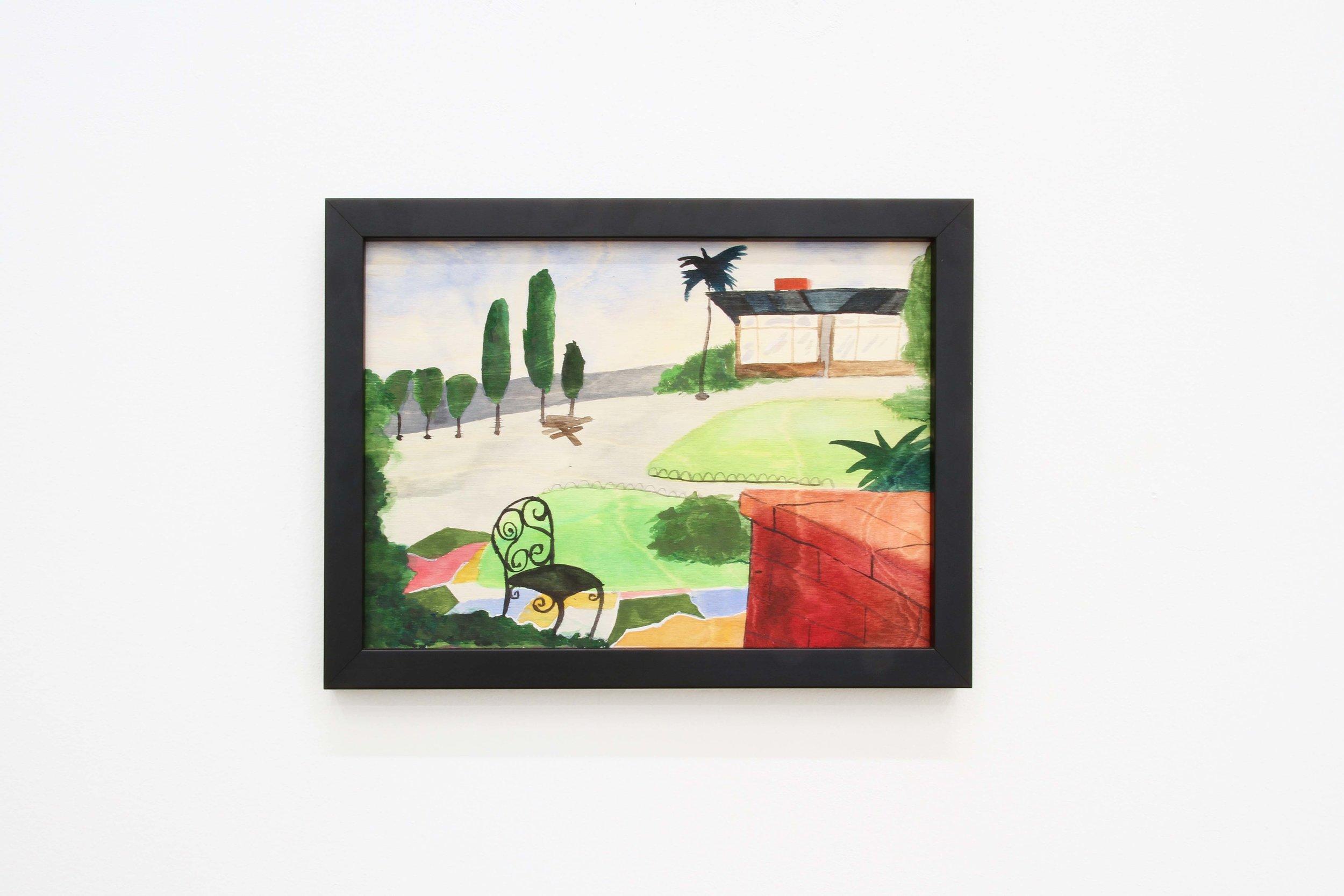 Ohne Titel (Horror), 2018 Gouache on wood 21 x 29.7 cm