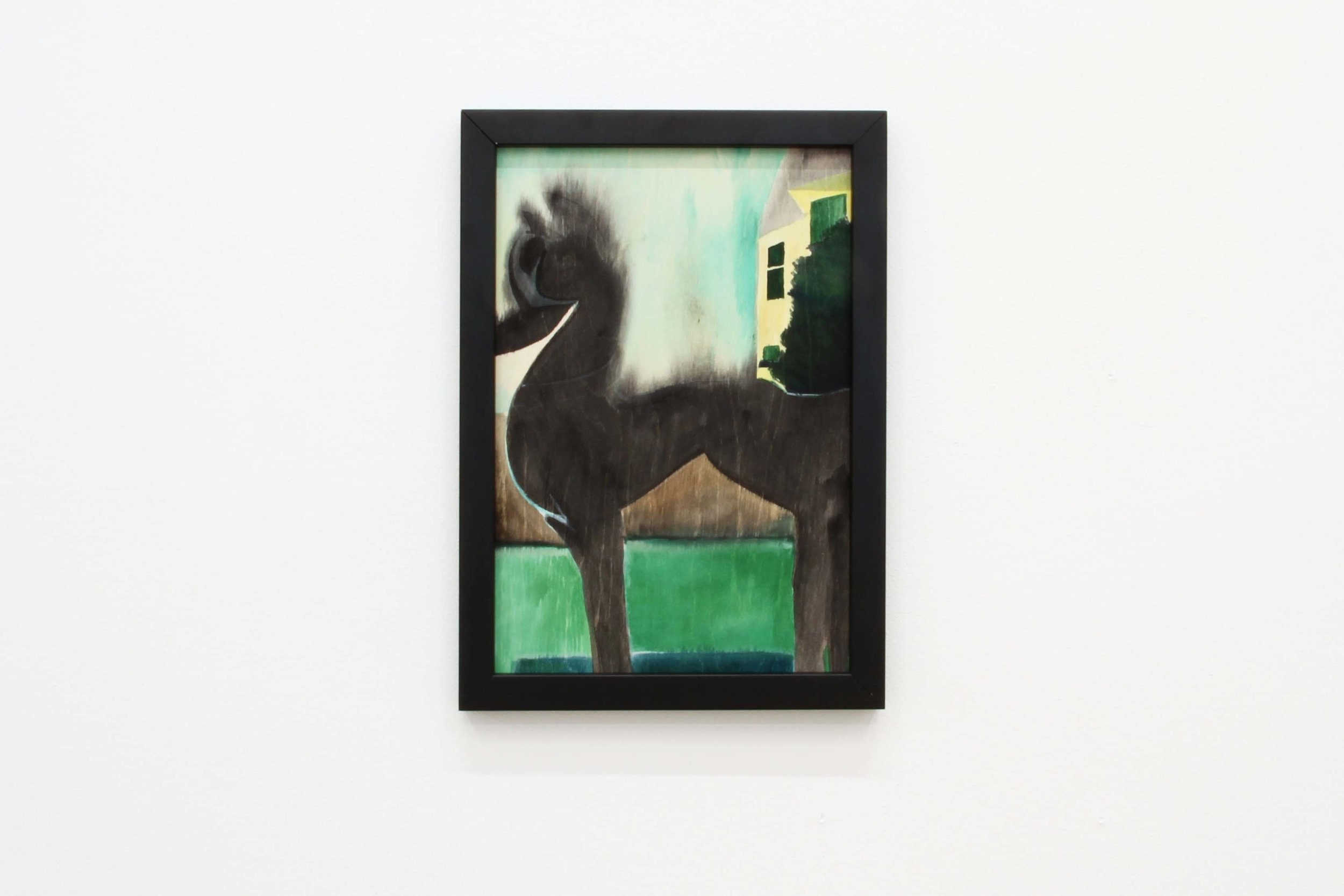 Ohne Titel (Paralyzed), 2018 Gouache on wood 29.7 x 21 cm