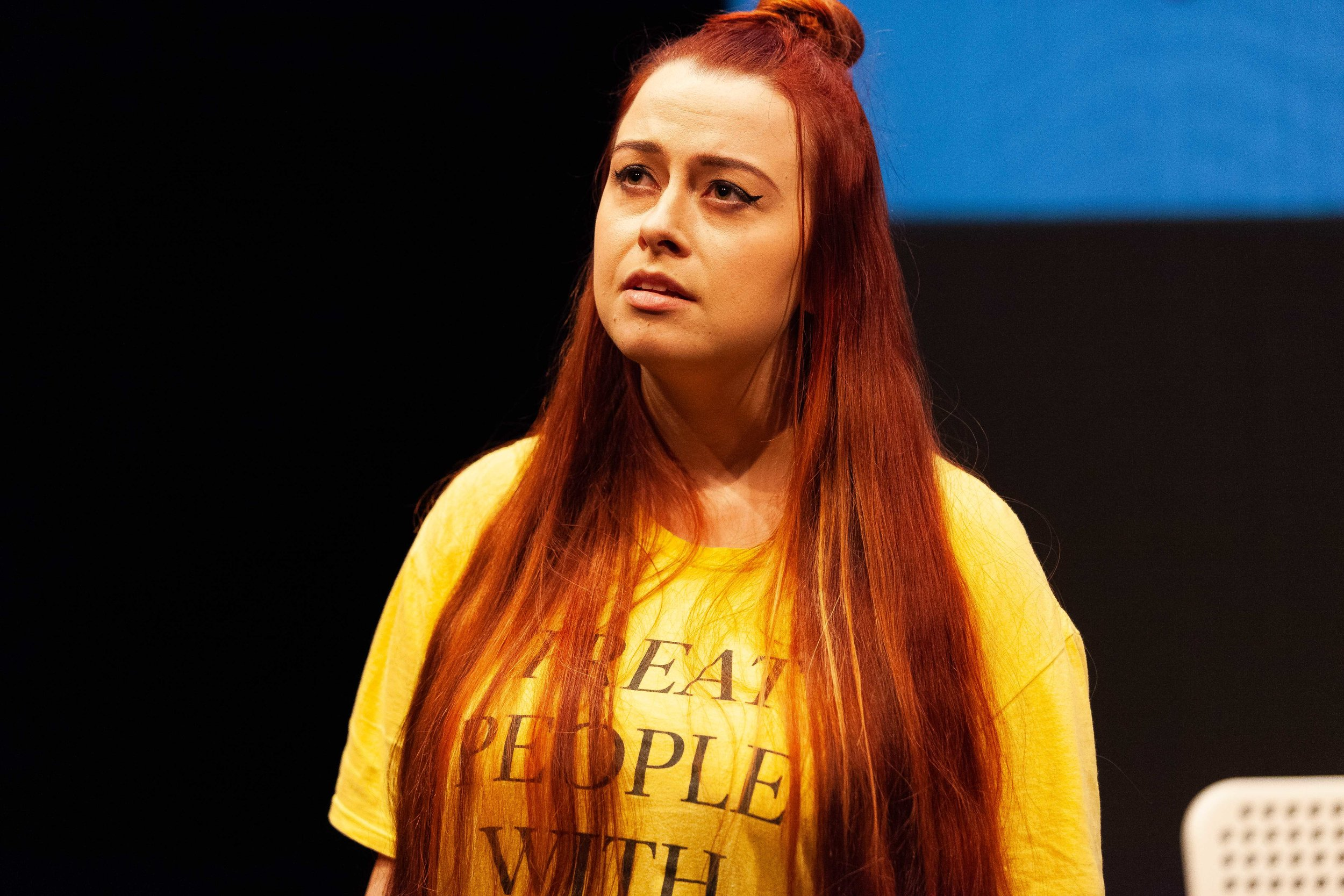 Madeleine Little performing in  Hold  (April 2019) at the Roundhouse Theatre.