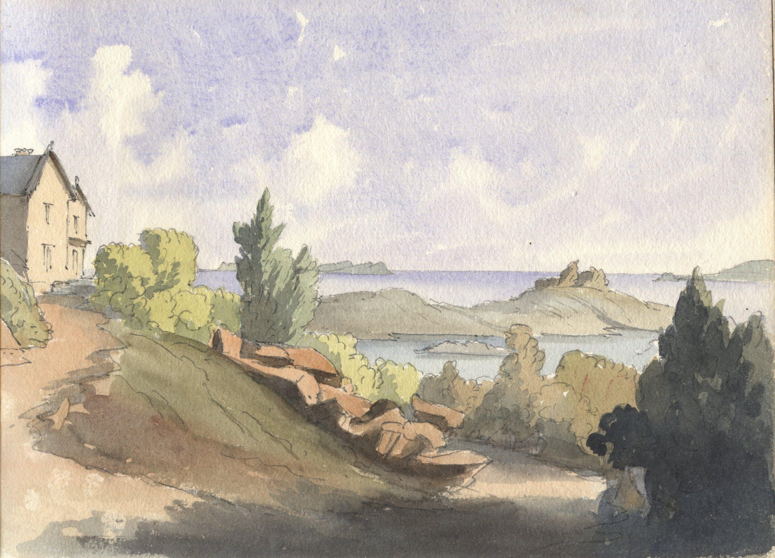 Lady Sophia Frances Tower Watercolour Tresco Abbey view.jpg