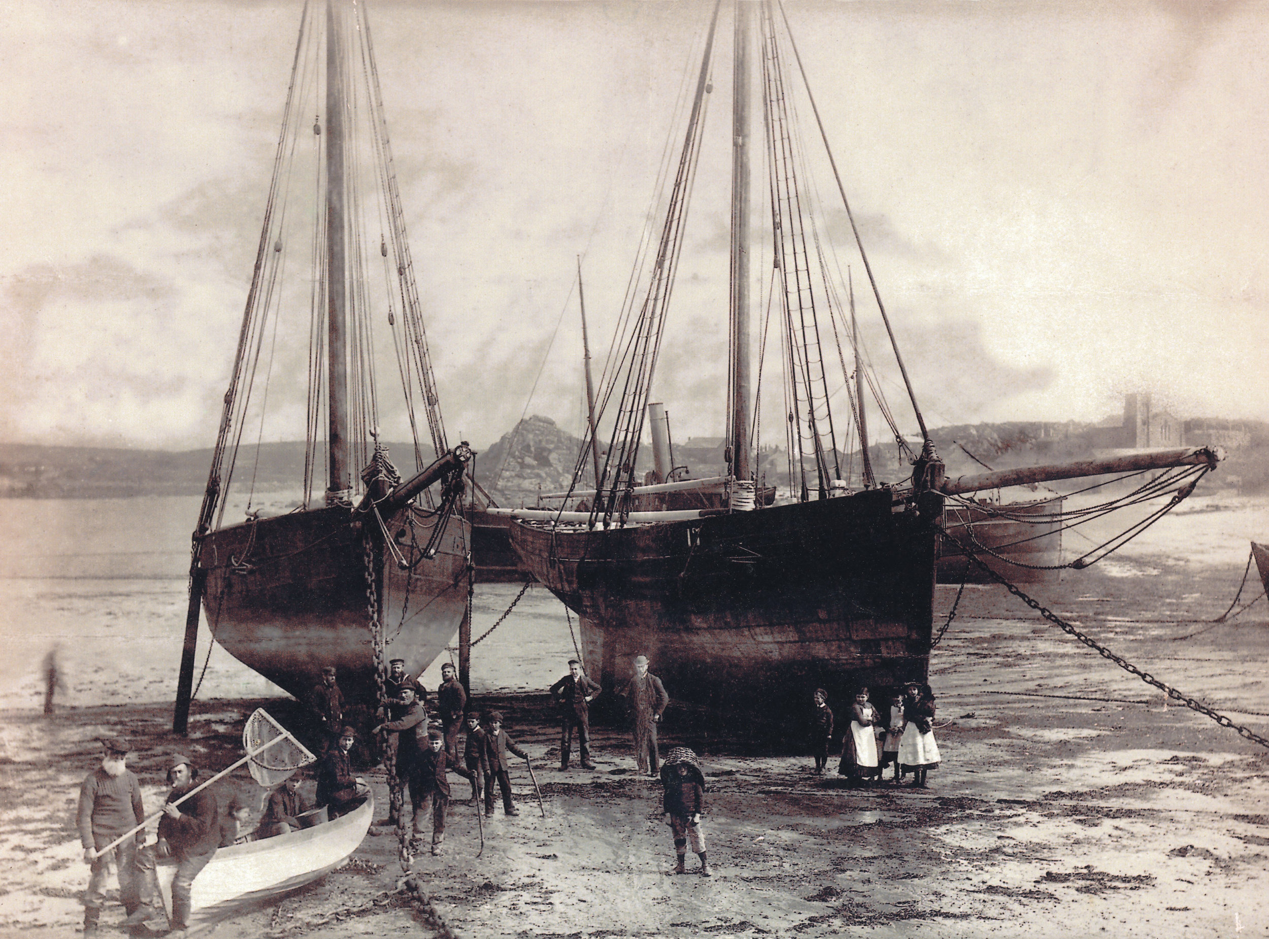Cutters on Town Beach, St Mary's. C. J. King. 002.jpg