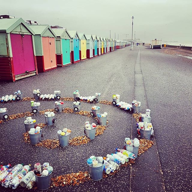 ECOBRICKS! Displayed on Brighton seafront, highlighting a constructive solution to repurpose single-use plastic waste. For a while now, I had been posting all my Sainsbury's plastic waste back to their HQ in Holborn and would receive the same generic email reply saying that they cared deeply about the environment. Meanwhile, so much of their single use packaging continues to state 'not yet recyclable'. Yeah, good work Sainsbury's.  Anyway, to make an ecobrick is easy - just get a plastic bottle and pack your plastic packaging in as tightly as you can (using a long handled implement) into the bottle and seal - it's amazing how much you can get in. The resulting ecobrick can be used for building projects. A local guy near me is collecting mine to make a public water fountain, for example. Go to eco bricks.org for further info and let's all start cracking down on plastic waste, because by the time the supermarkets get their arses into gear the oceans will be full!  www.ecobricks.org . . . #plastic #ecobrick #plasticpollution #saynotosingleuseplastic #saynotosingleuse #plasticsolved #bethechange #zerowasteliving #zerowastejourney #reuserevolution #plasticsucks #saynotoplastic #ecobricks #sustainable #endplasticwaste #planet #ocean #oneworld #savetheoceans #sainsburys #eco #plasticpackaging #environmental #environment #savetheplanet #brighton #reuse #recycle #act #noplastic