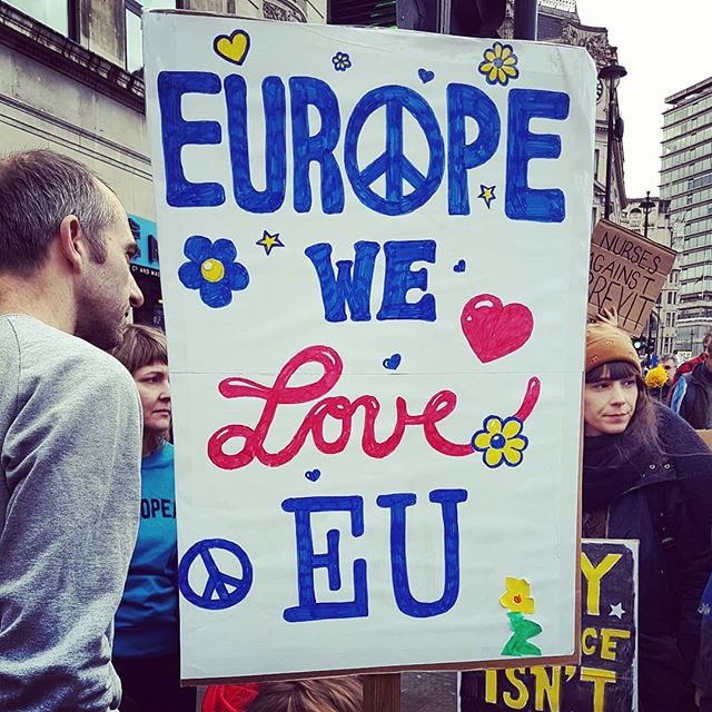 1 million plus at today's People's Vote March. Even if nothing good comes of it, I'm glad we added our tiny gang of 4 to the masses. I'd like to wake up now and find the whole Brexit shitshow was a bad dream...and that May, Farage, Johnson, Rees Mogg et al were trapped in a never-ending loop of The Hunger Games.  Awesome poster by @toosmalltobebig 😘 . . . #putittothepeople #putittothepeoplemarch #peoplesvotemarch #peoplesvote #EU #brexit #europe #article50 #britain #london #british #european #shitshow #bollockstobrexit