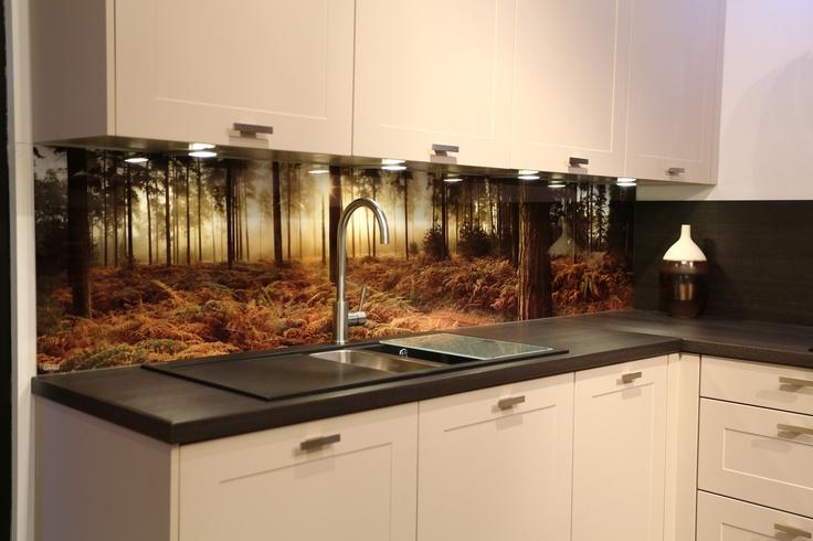 Kitchen back splash in wild forest