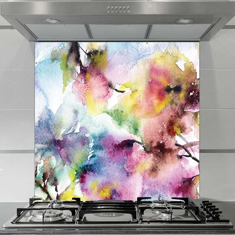 Water Color Paint Effect in Kitchen Backsplash