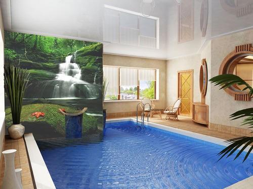 Printed Wall Falls on Indoor Pools