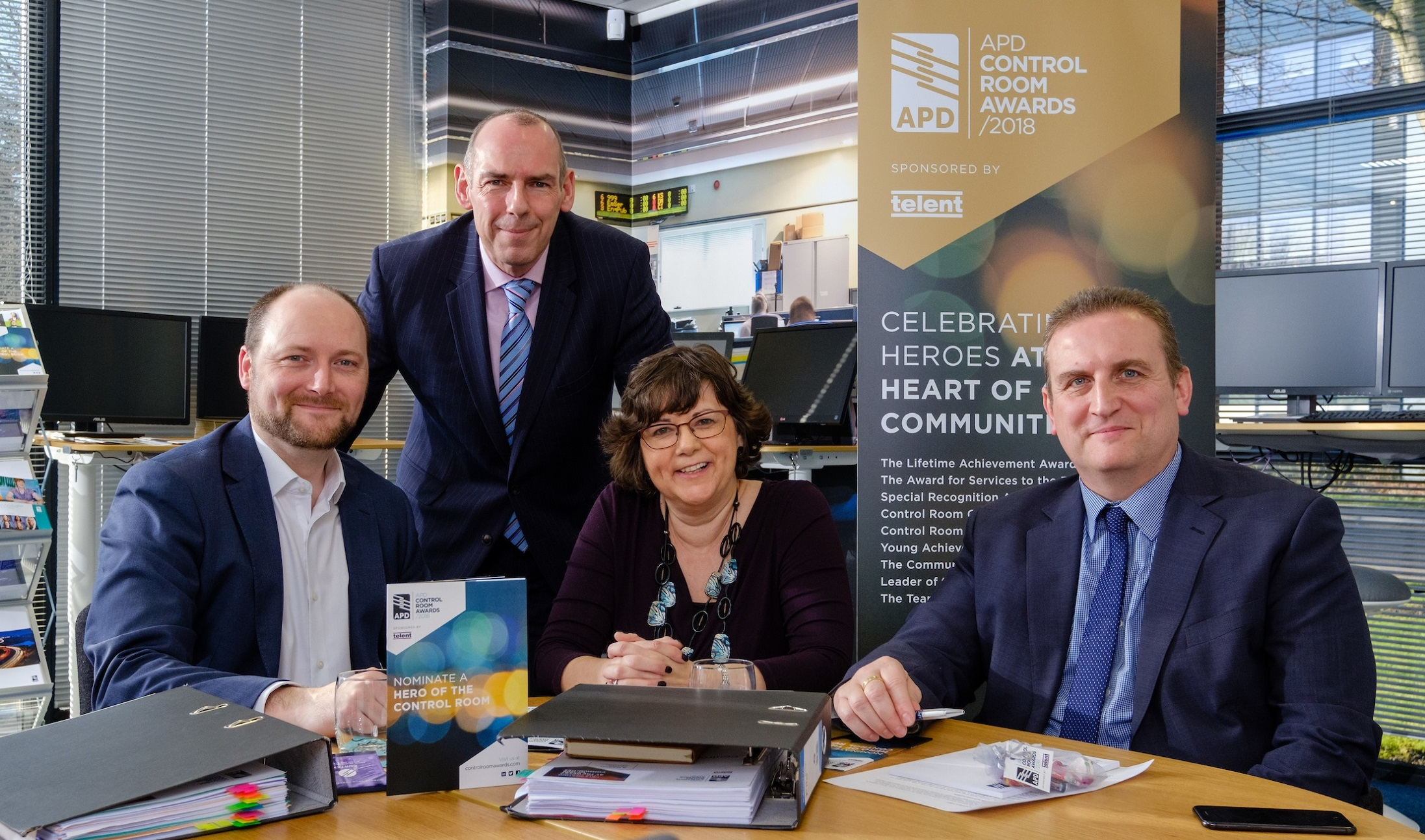 The judging panel for the APD Control Room Awards, from left, Mike Isherwood, Ian Thompson, Sue Noyes and Barry Zielinski. Chris Dreyfuss-Gibson and Cheryl Rolph OBE participated in the judging remotely.