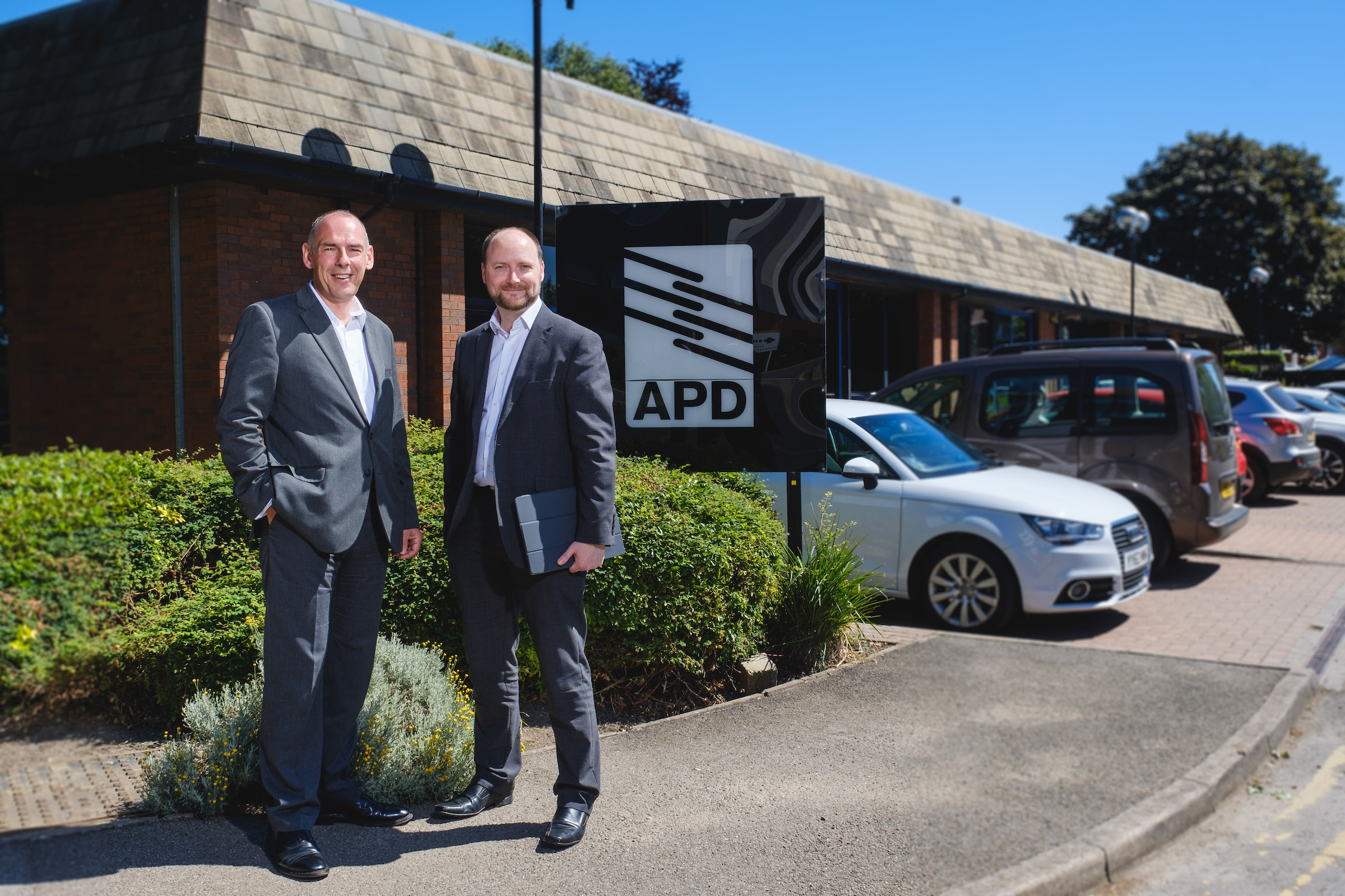 Ian Thompson, CEO of BRitish APCo with MIke Isherwood at APD COmmunications HQ