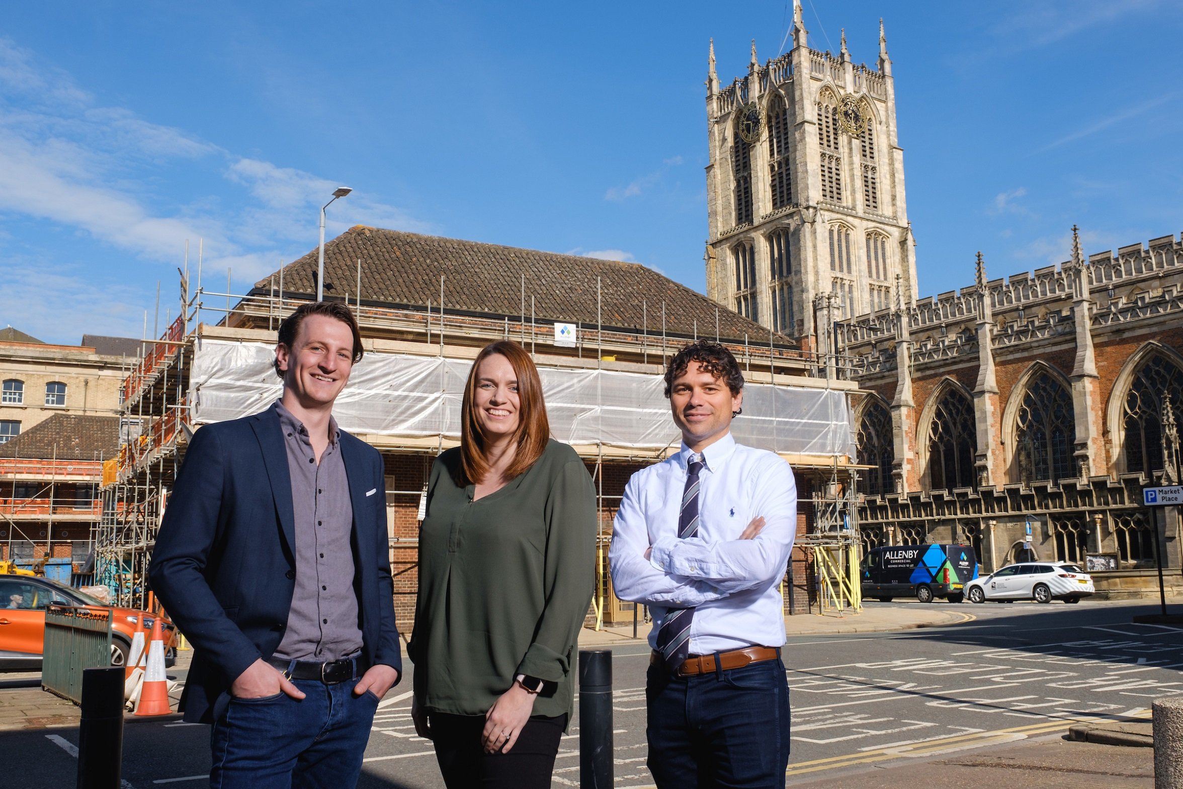 APD Commercial Director Rhiannon Beeson with Charlie Allenby, of Allenby Commercial, left, and RFD's Alex Jenneson outside the technology company's new offices in the shadow of Hull Minster, which are currently undergoing a £2m transformation.