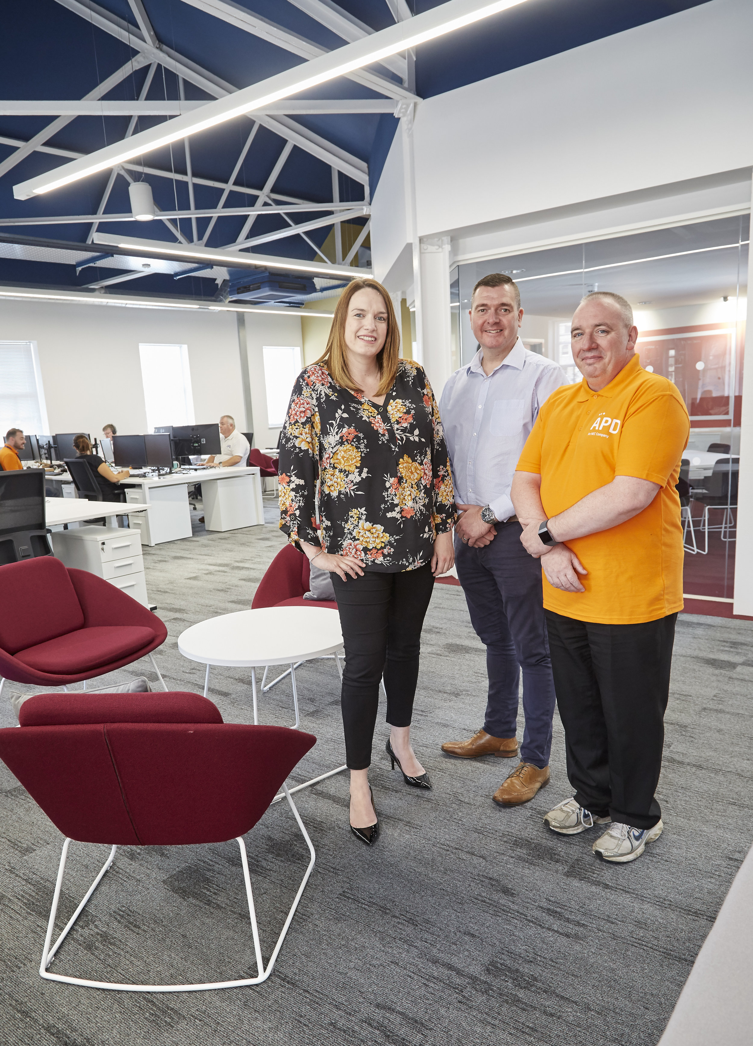Commercial Director Rhiannon Beeson, Support Team Leader Dave Campbell, centre, and Support Engineer Mark Grice in APD Communications' inspiring new offices in Hull's Old Town.