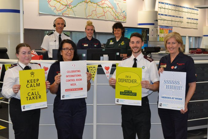 welsh ambulance service jubilations at the joint communications centre in st asaph with partners north wales police and north wales fire service