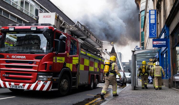 Crews respond to Large fire in Glasgow city center at Sauchiehall Street in Glasgow, United Kingdom