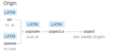 Late Middle English (denoting the action or a way of looking): from Latin  aspectus , from  aspicere  'look at', from  ad-  'to, at' +  specere  'to look'   Source: Google Dictionary