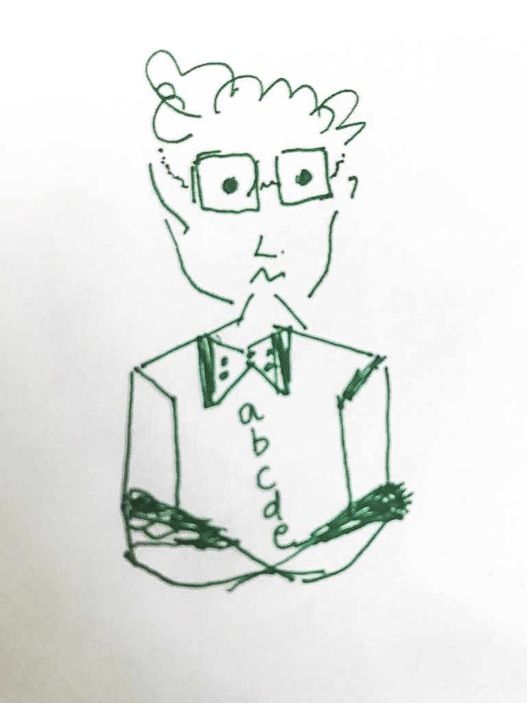 Ernst, the Linear Thinker (fat-finger drawing by Nirupa Umapathy)