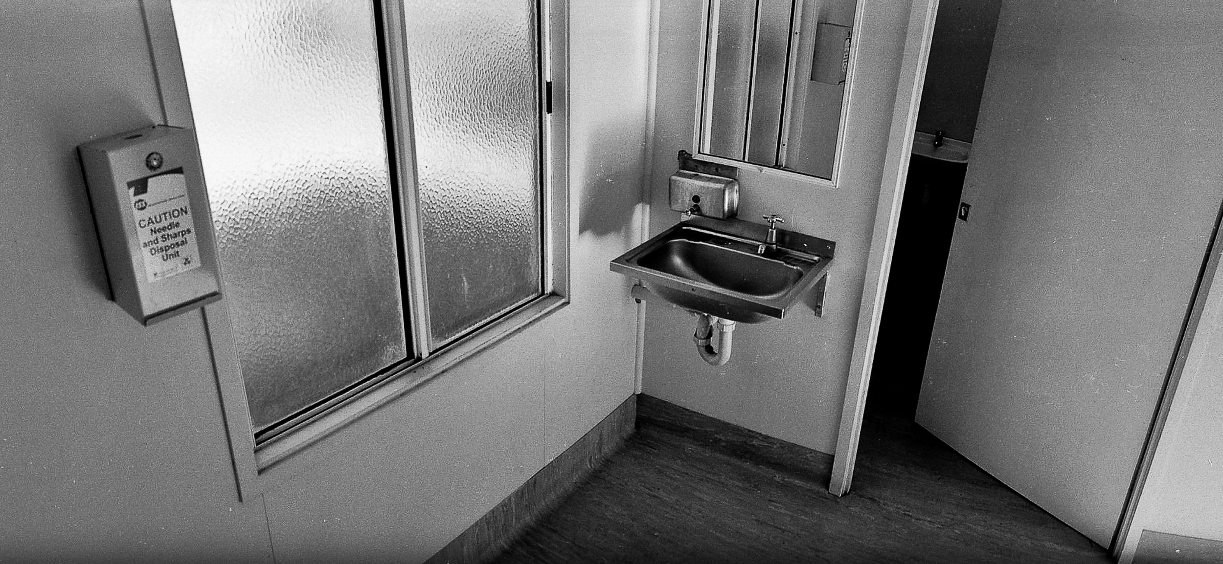 A public toilet. The town has seen a rapid increase in meth users.