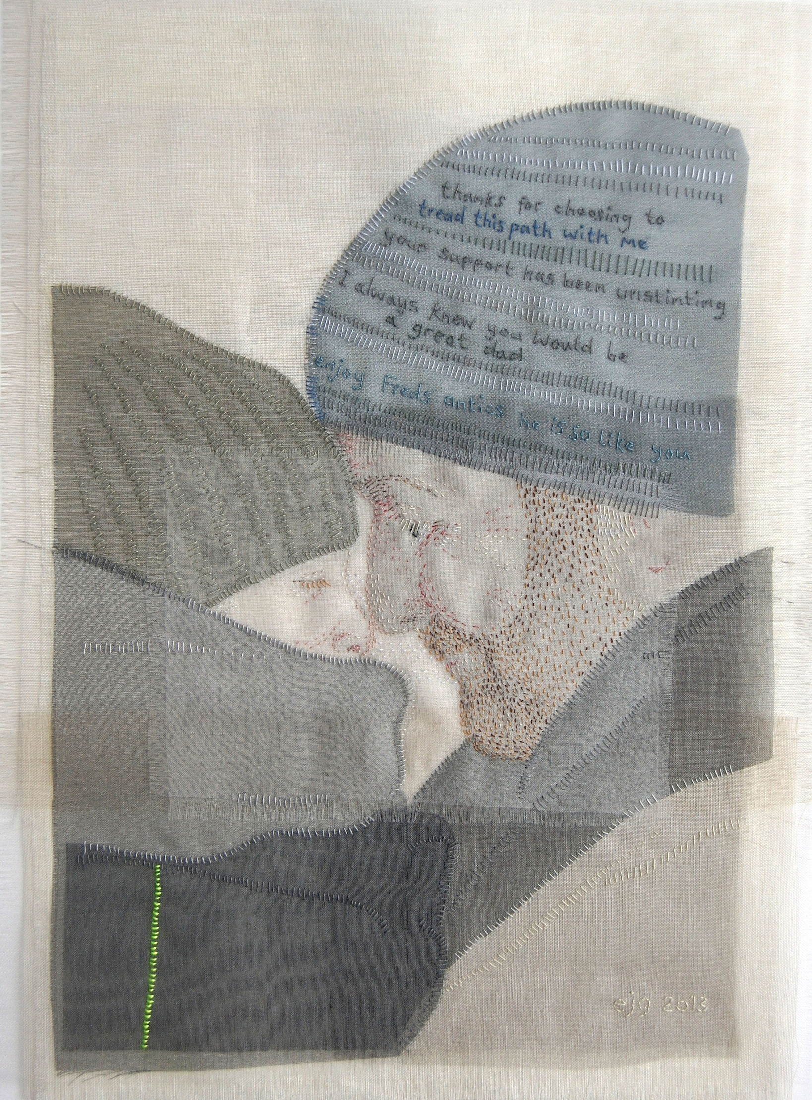 He is so like you - SOLD  One of things Emily admires about her husband is that he dares to be different; he is interested in the unusual and the nonconformist. He also enjoys provoking a reaction; the irony is their son is just the same and drives his father to distraction.  2013 Silk organza, cotton, hand stitch 21cm x 30cm