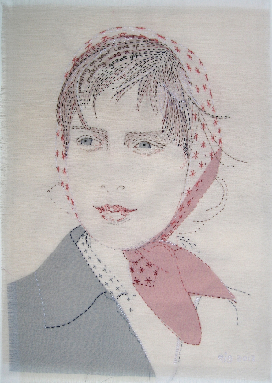 Sweet Sixteen - SOLD  As a child Emily was always making things and her mum was always making things too. Mary Jane skillfully and patiently filled her children with confidence in their ability to make things,a great gift.  2012 Silk organza, cotton, paint, hand stitch 18cm x 27cm