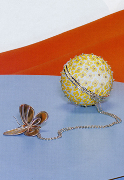 Butterfly on Flower head purse As seen in Vogue Japan Sterling silver, silk and copper Diameter 70mm Made to order POA