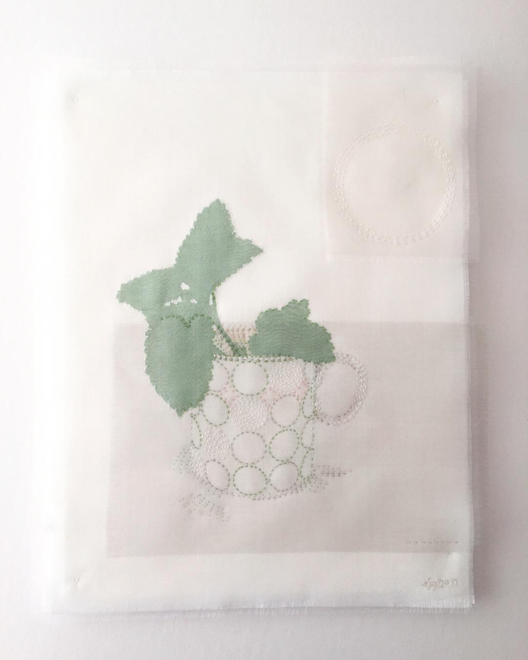 Lemon balm in coffe cup 2017 - Silk organza applique on linen ground, hand stitched. 21cm x 28cm Oak frame 37cm x 47cm - £975