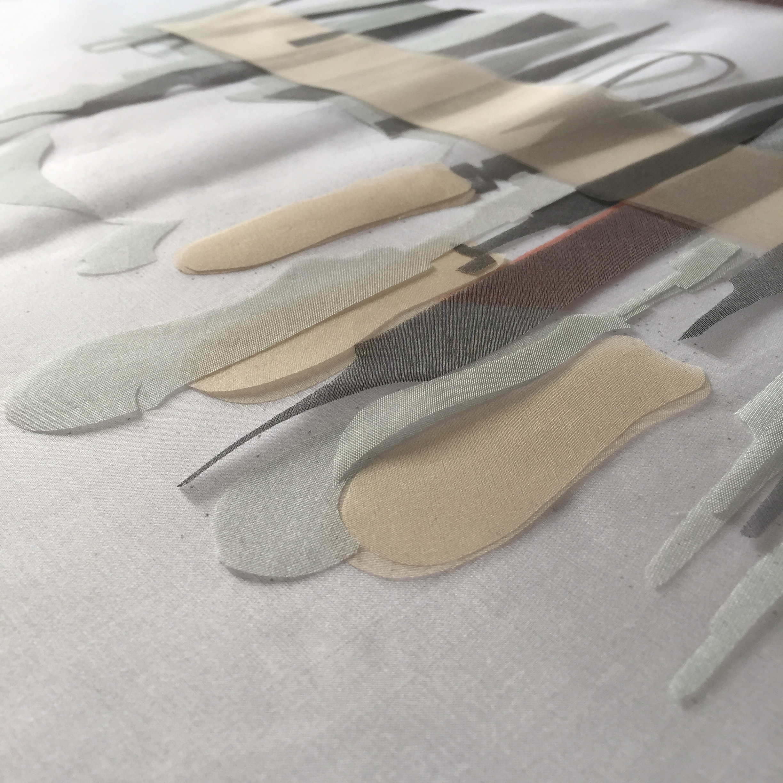 Work in progress - Portrait of a Metal worker. Hand cut silk organza pieces