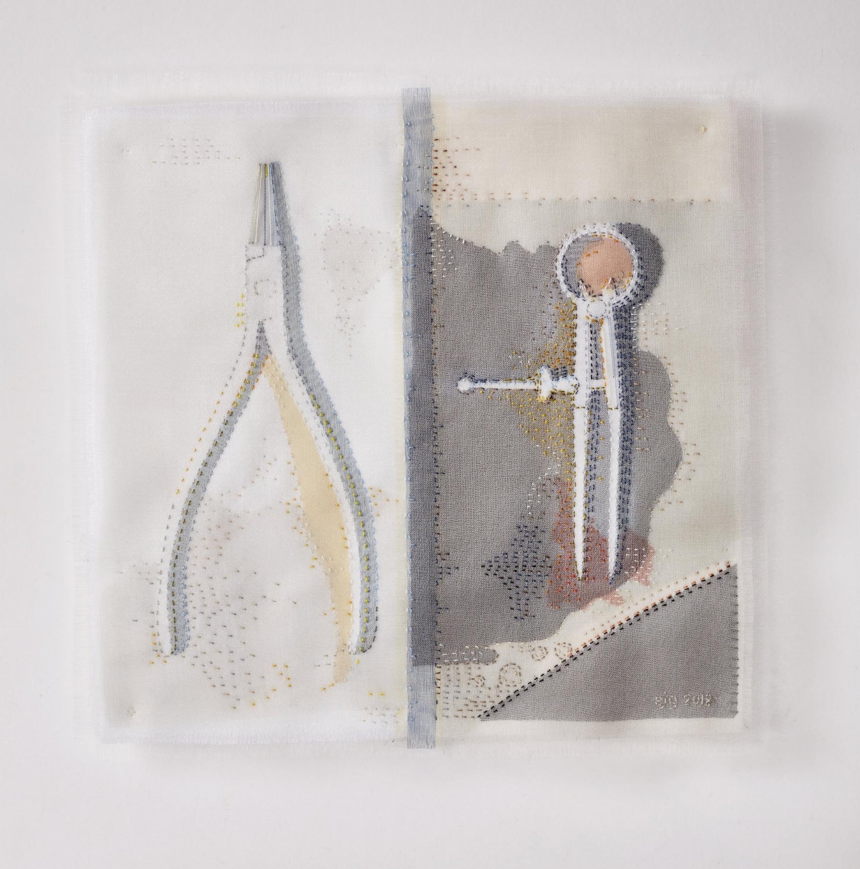 Portrait of a Jeweller 2018, 18cm x 18cm, hand stitched silk organza appliqué on linen SOLD
