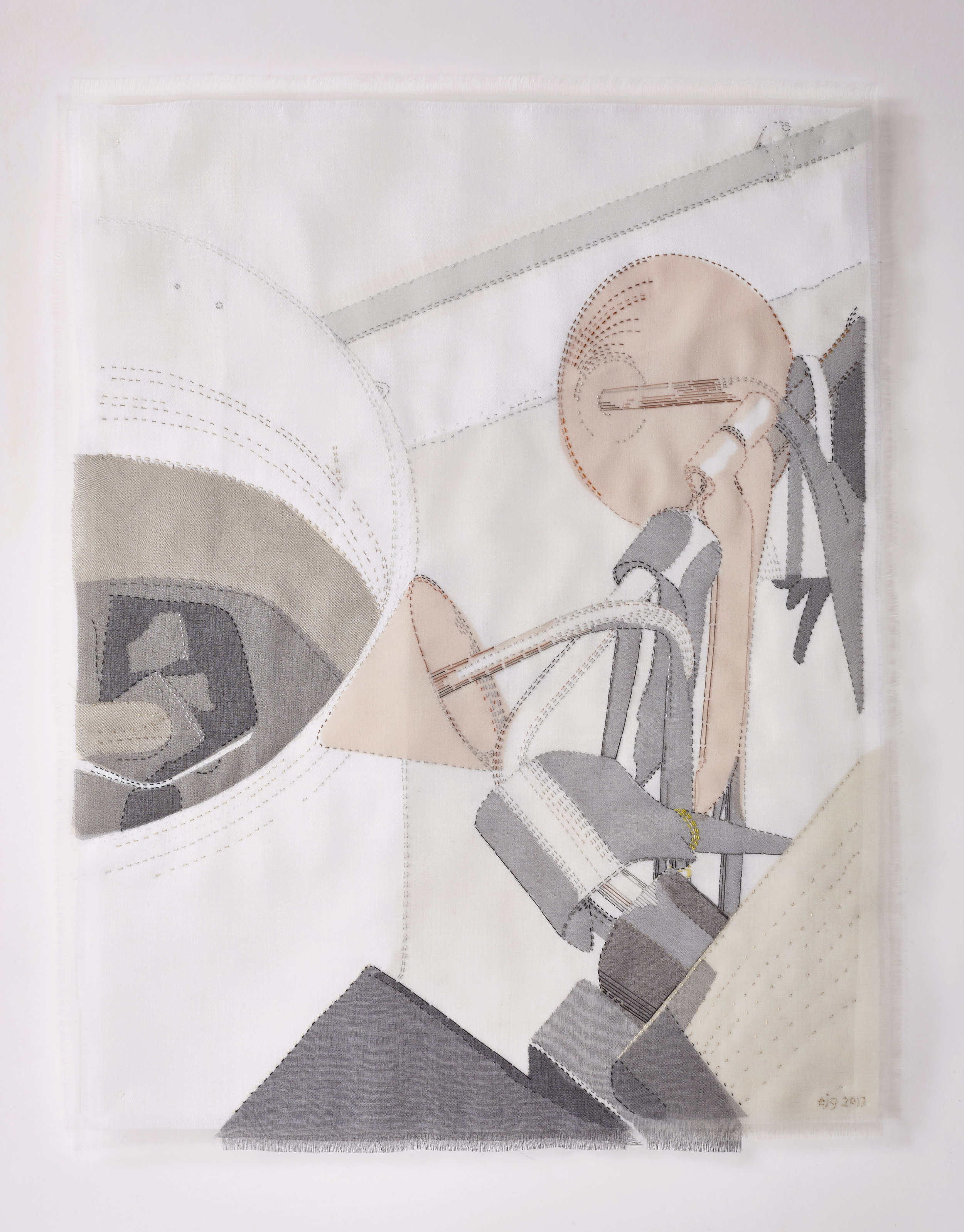 Portrait of a Glass-blower 2017, 33cm x 42cm, hand stitched silk organza appliqué on linen. AVAILABLE  please enquire