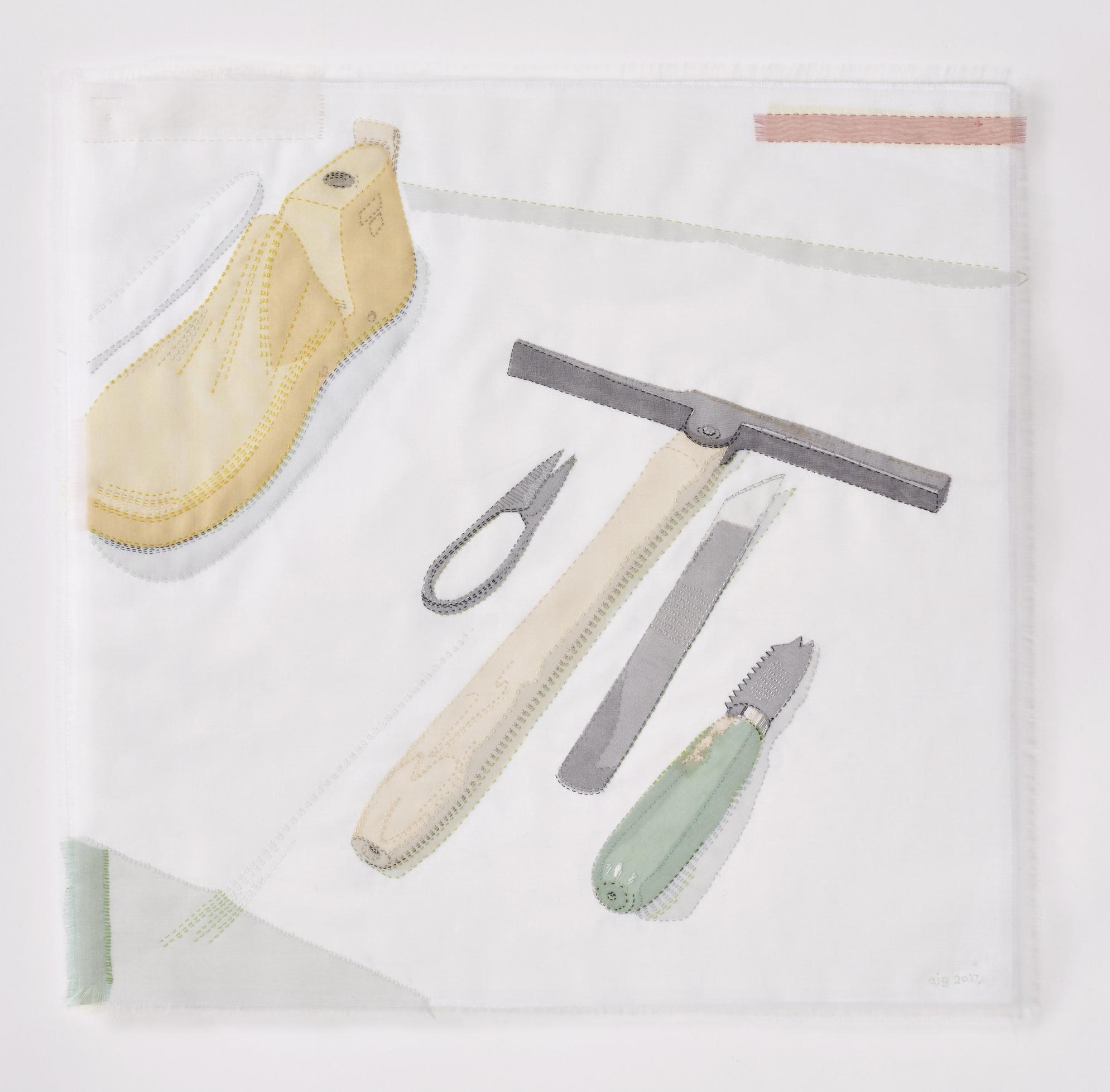 Portrait of Shoemaker 2017, 45cm x 46cm, hand stitched silk organza appliqué on linen. AVAILABLE  please enquire