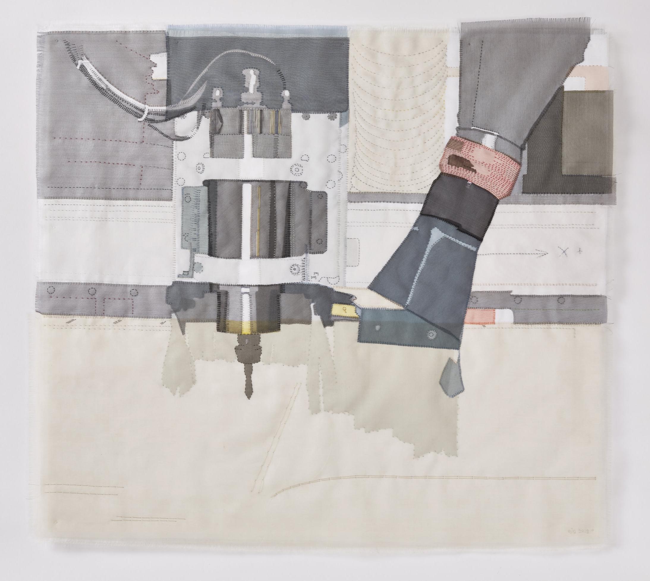 Portrait of a Furniture maker 2018, 65cm x 59cm, hand stitched silk organza appliqué on linen SOLD