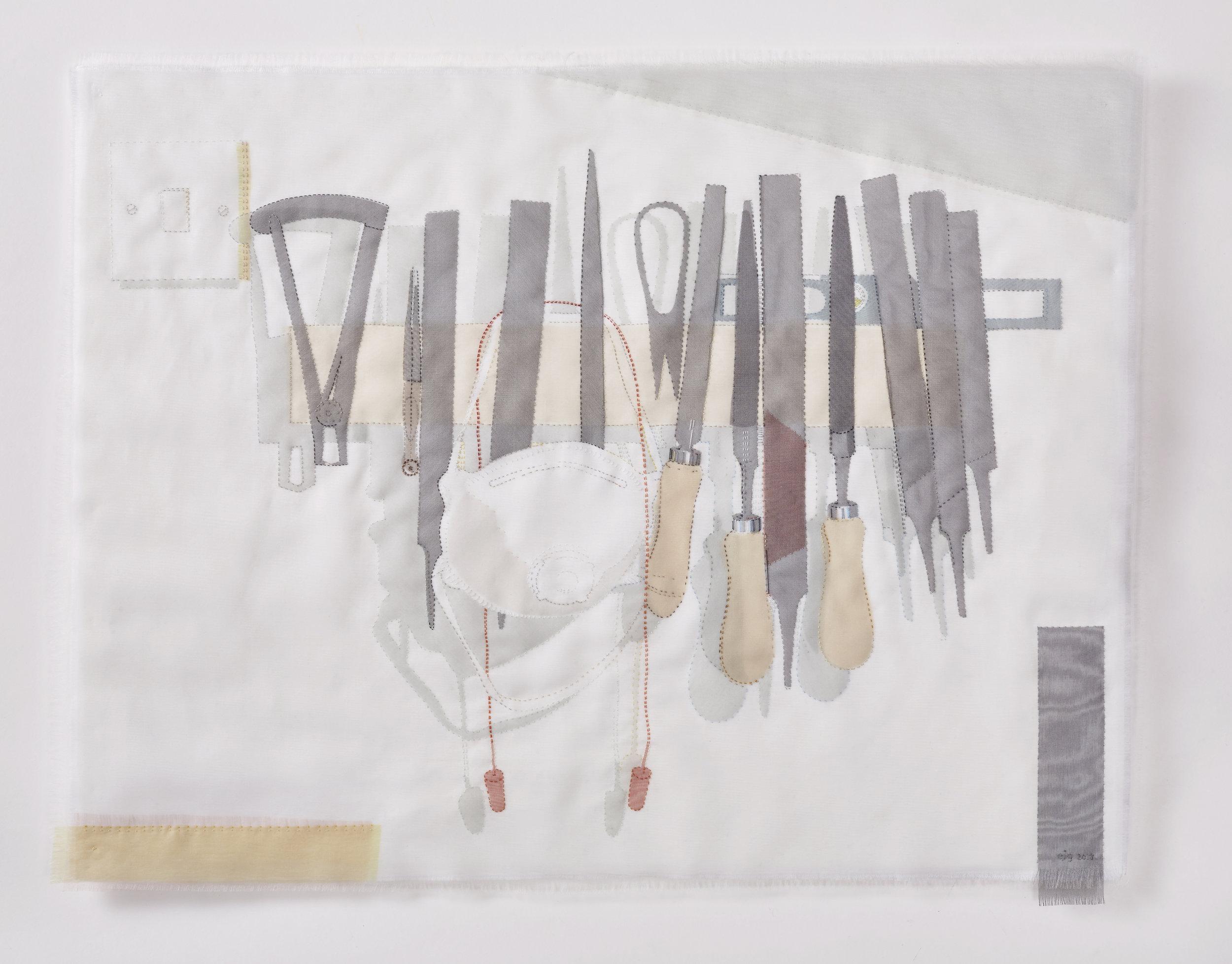 Portrait of a Metal worker 2017, 63cm x 49cm, hand stitched silk organza appliqué on linen. AVAILABLE  please enquire